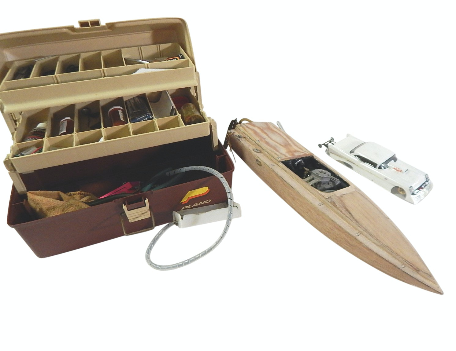 Vintage Hand Made Gas Powered Boat and Car Model, Soldering Accessories