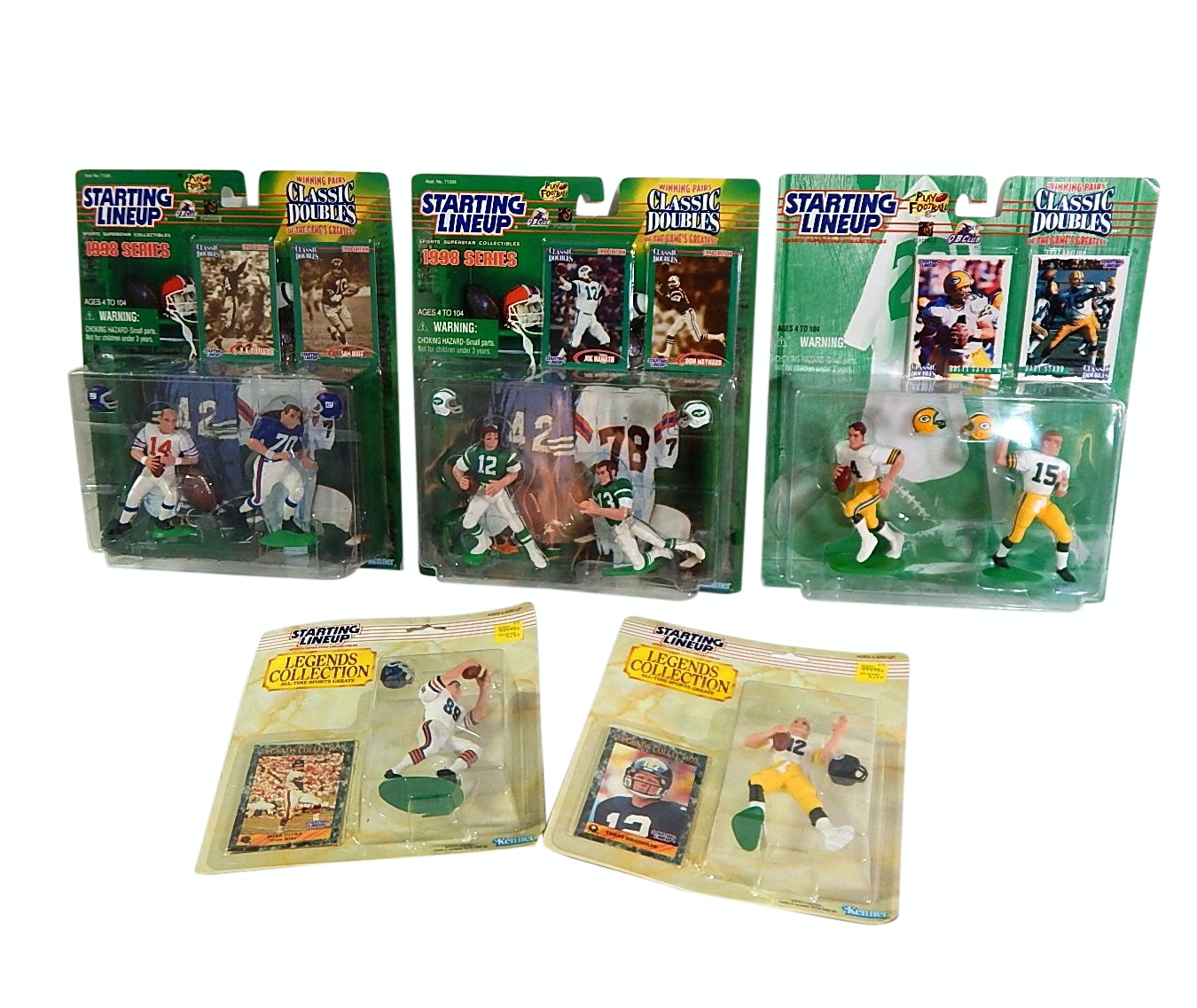 1989 and 1997 Kenner Starting Lineup Action Figures with Bradshaw, Starr