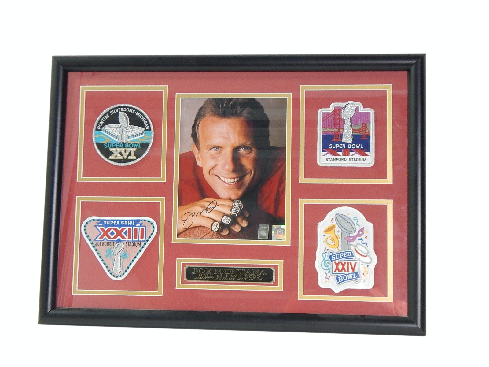HOF Joe Montana Signed Photograph and Super Bowl Patch Framed Display