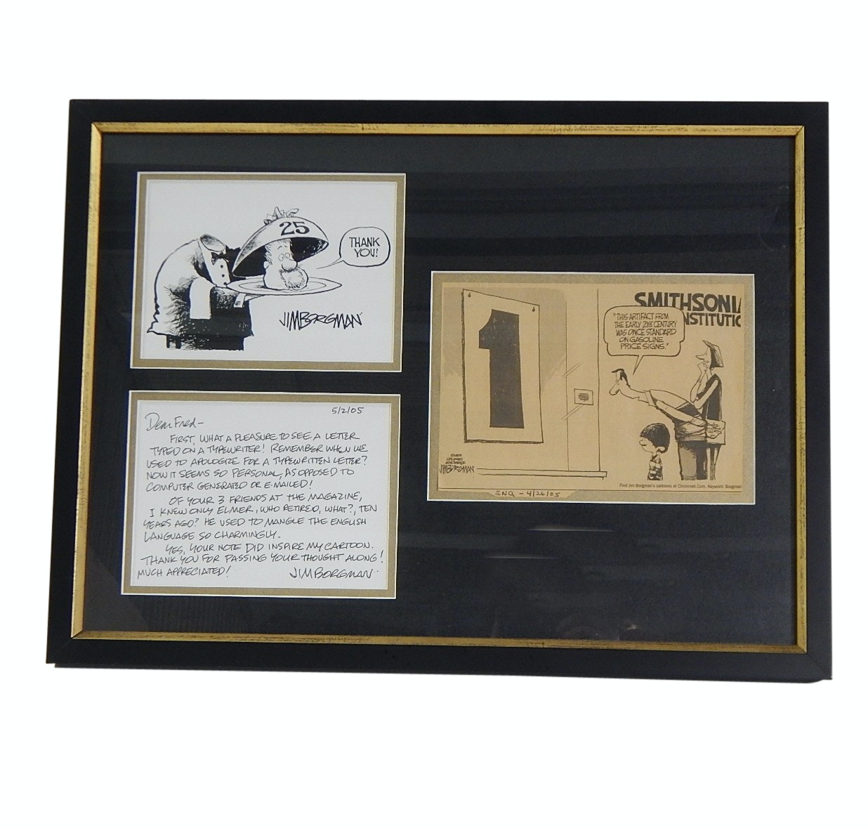 Cincinnati Cartoonist Jim Borgman Framed Cartoons and Personalized Letter