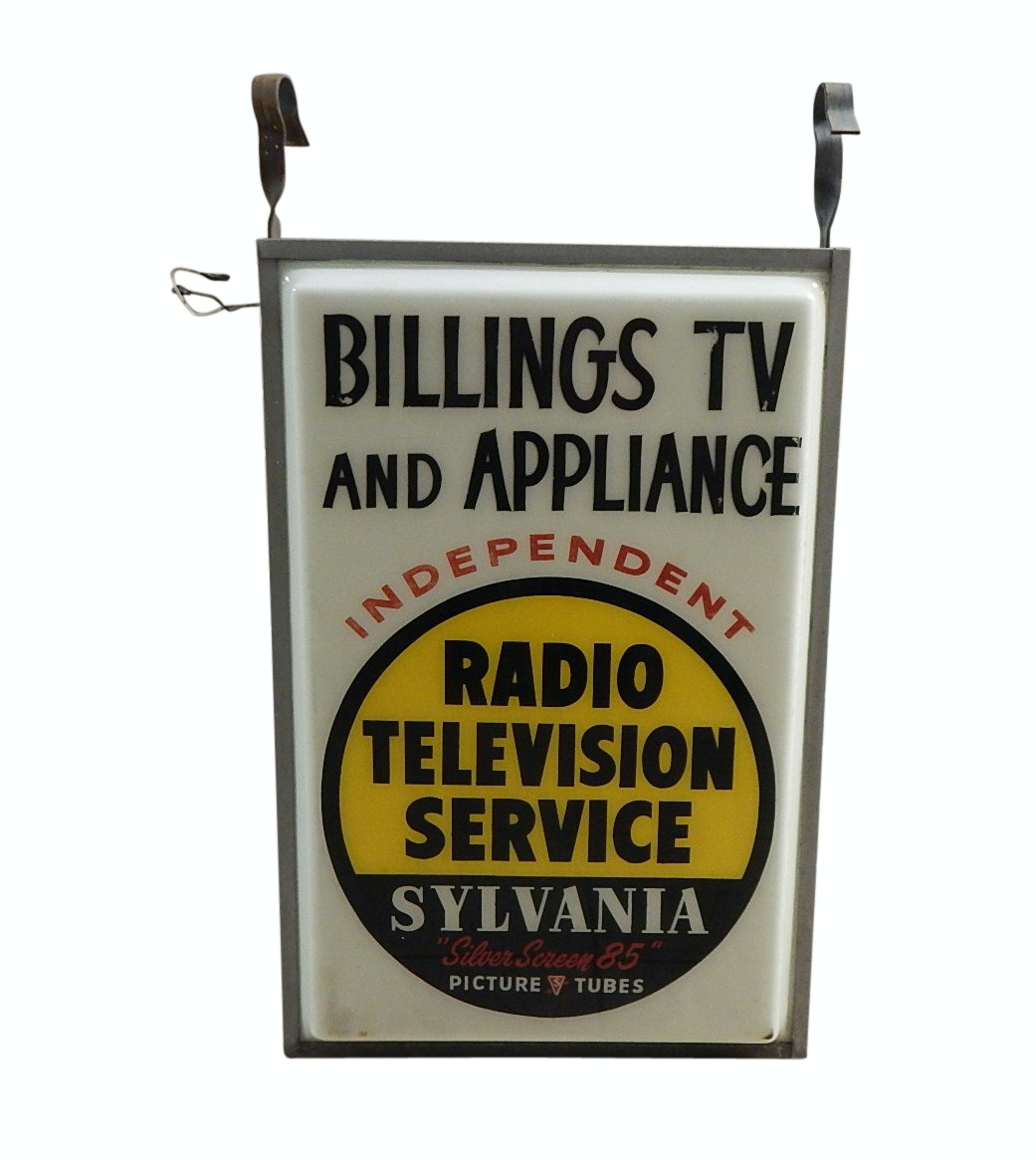 "Vintage ""Billings TV and Appliance"" Lighted Sign"