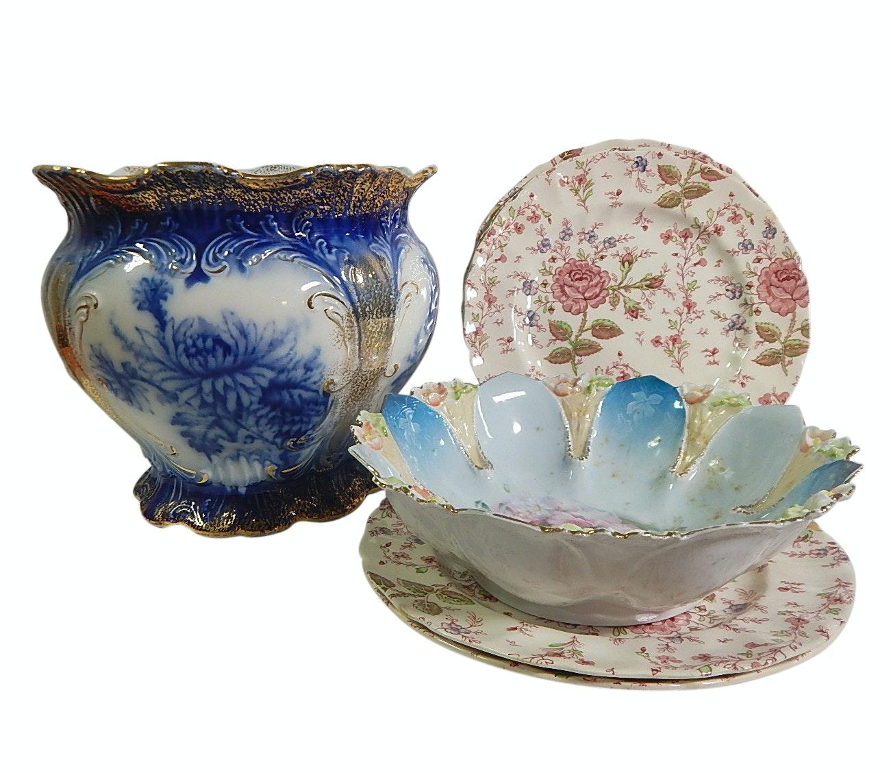 Antique Flow Blue Jardiniere, Rose Chintz Plates, R.S. Prussia Bowl