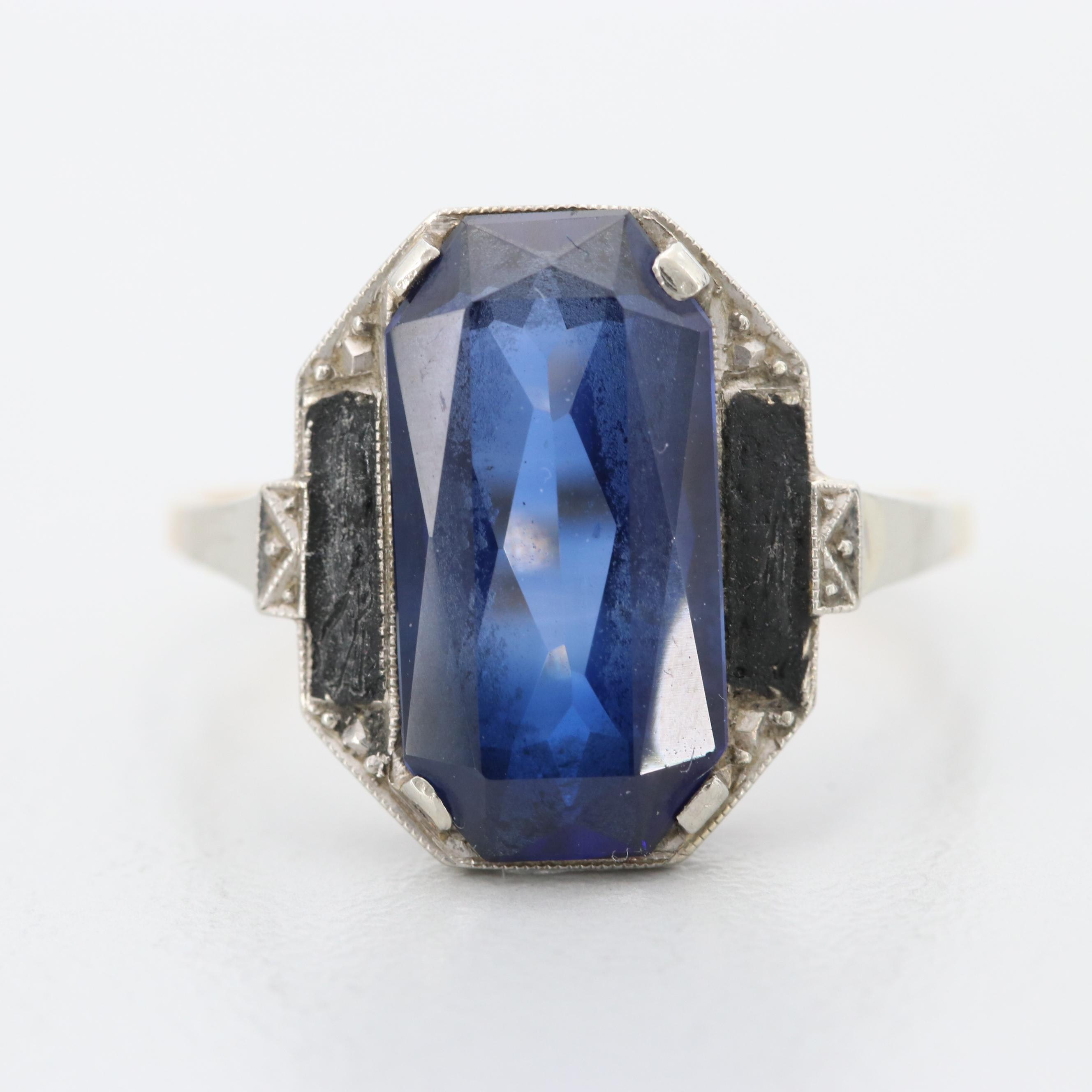 Art Deco Yugoslavian 14K Yellow and White Gold Synthetic Sapphire Ring
