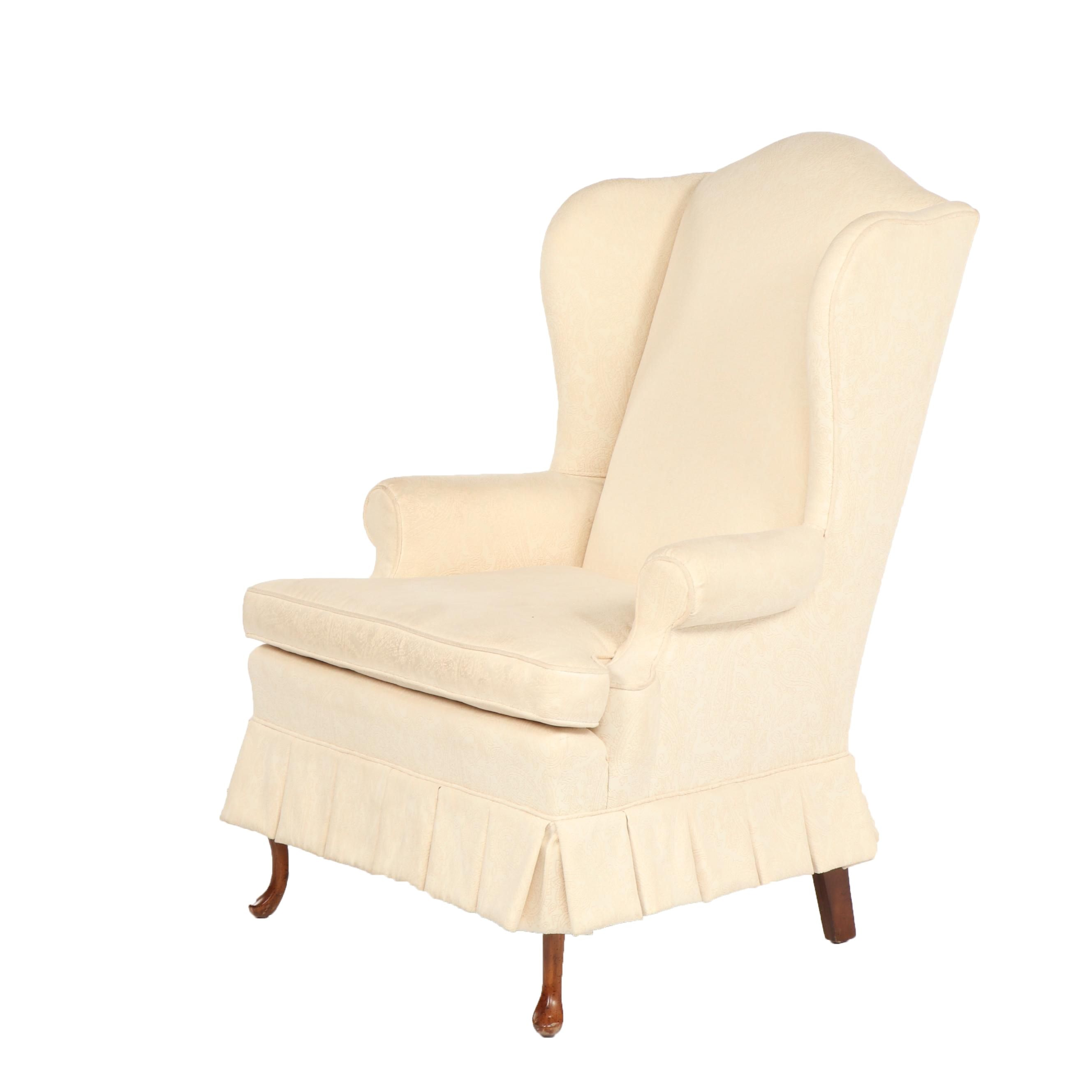 Upholstered Wingback Armchair, Late 20th Century