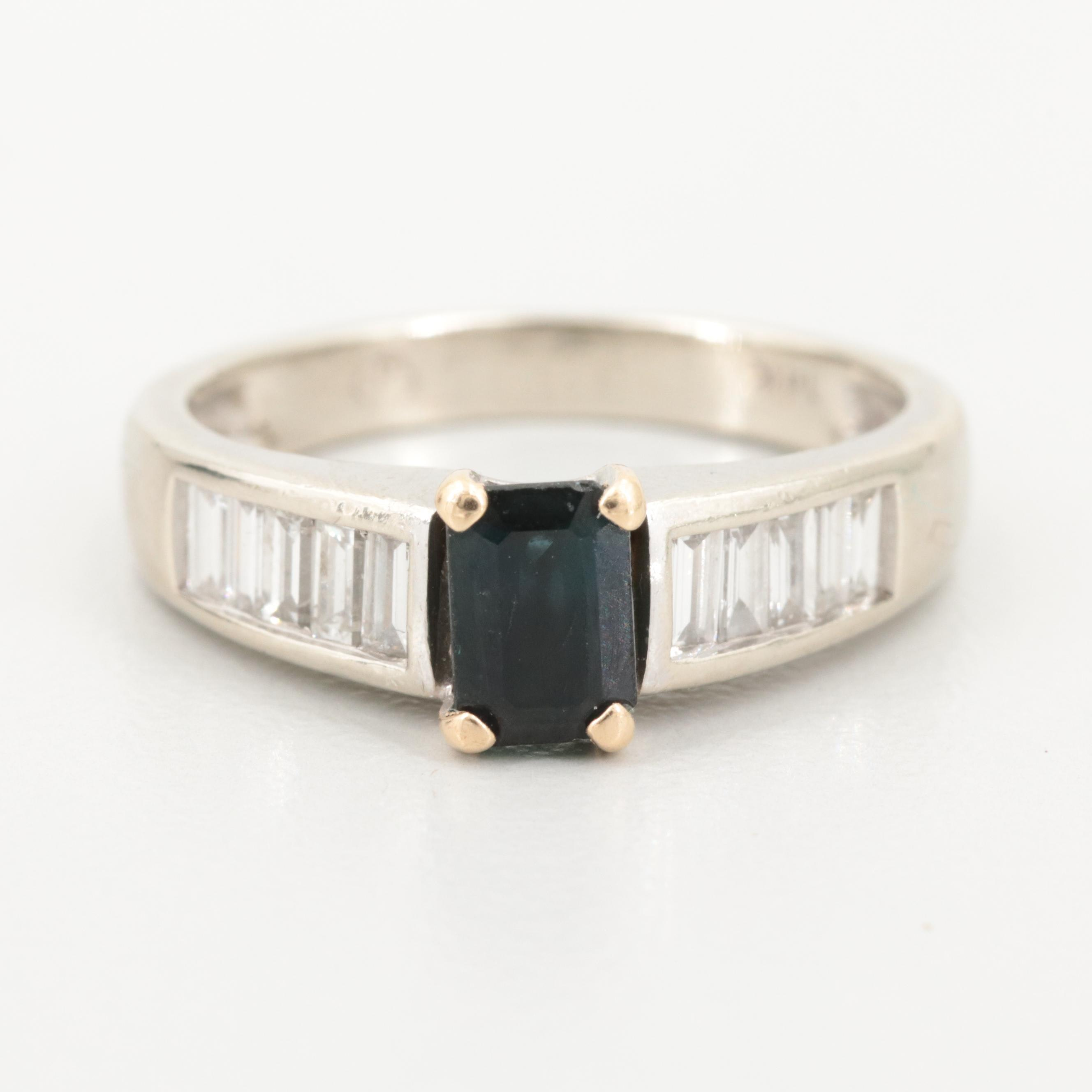 14K White Gold Sapphire and Diamond Ring with Yellow Gold Accents