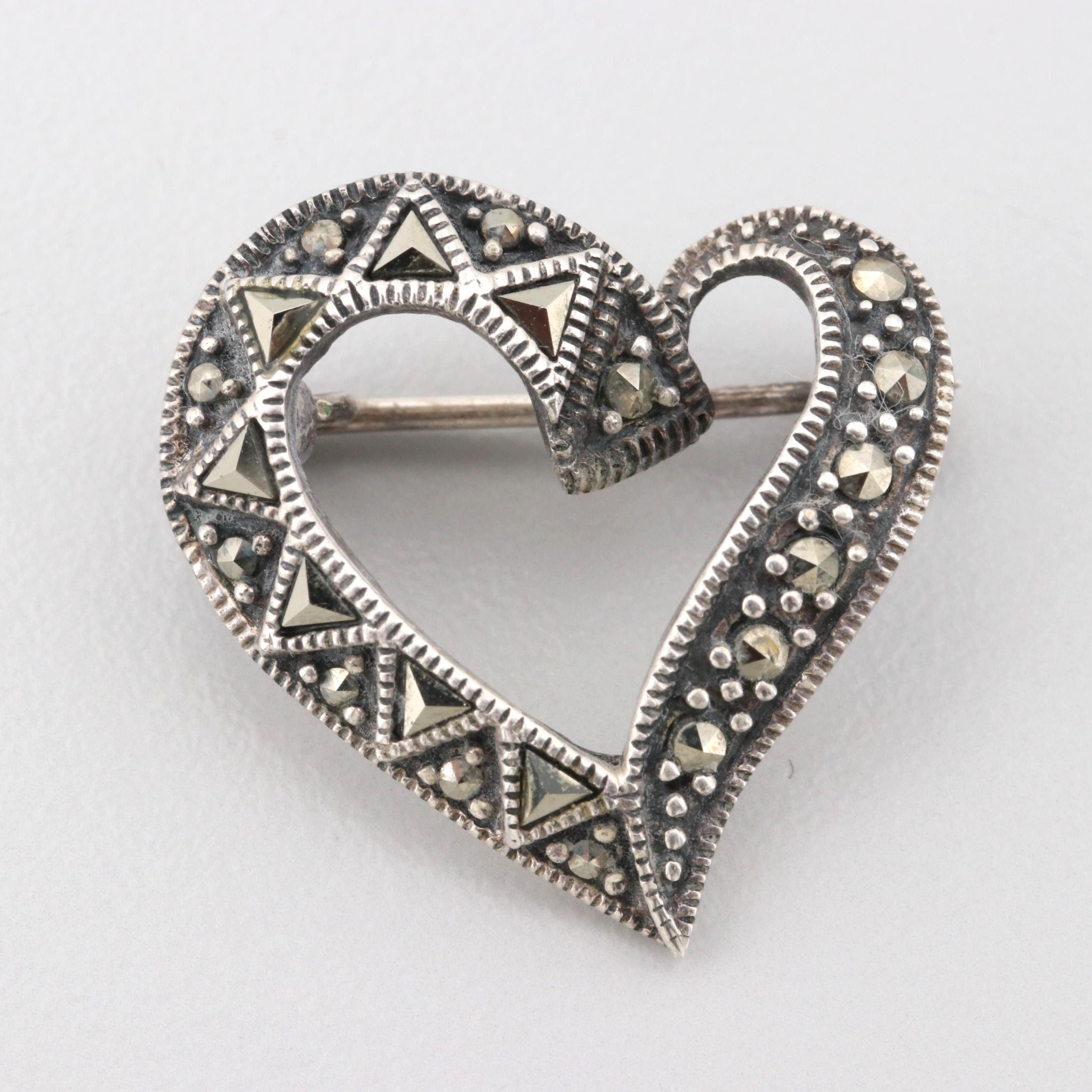 Sterling Silver Marcasite Heart Brooch
