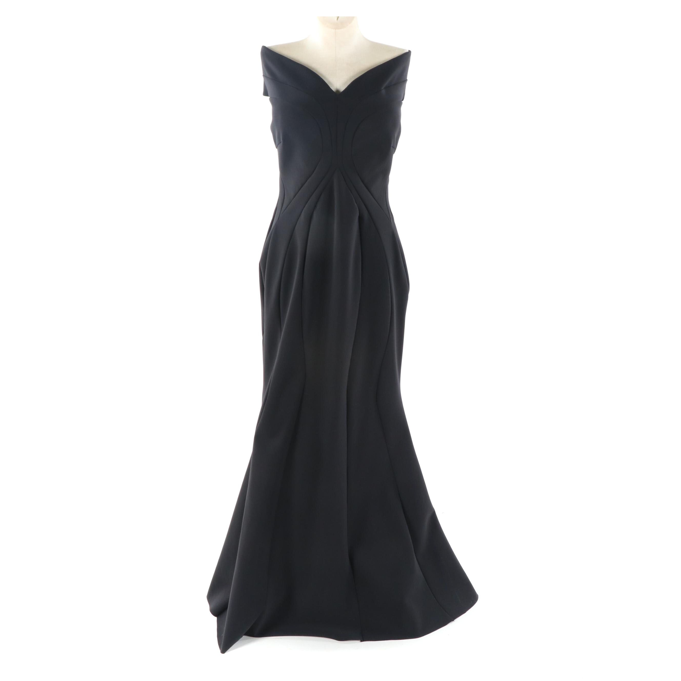 Chiari Boni Couture Black Evening Gown, Made in Italy