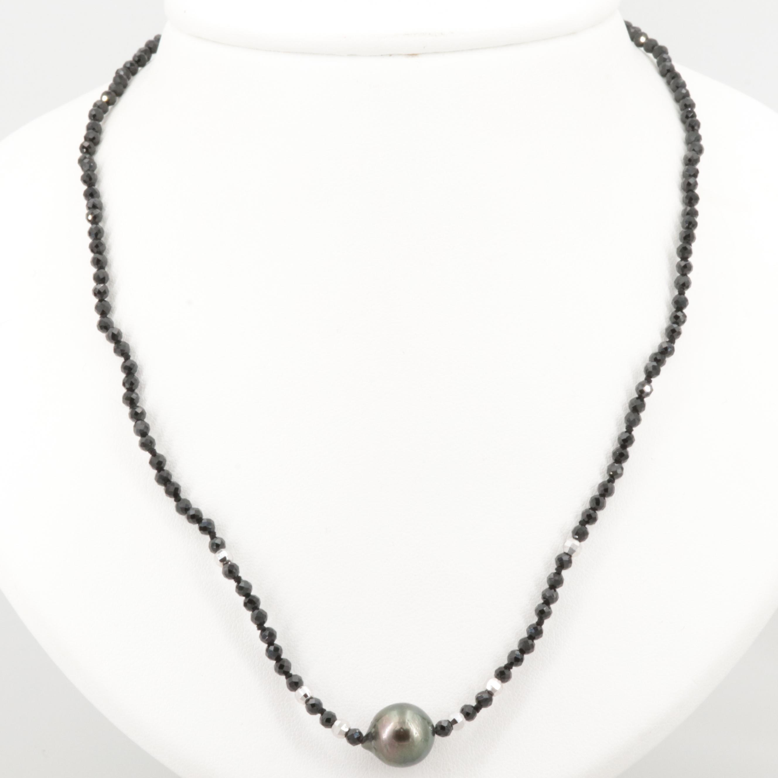 Sterling Silver Cultured Pearl and Black Onyx Necklace