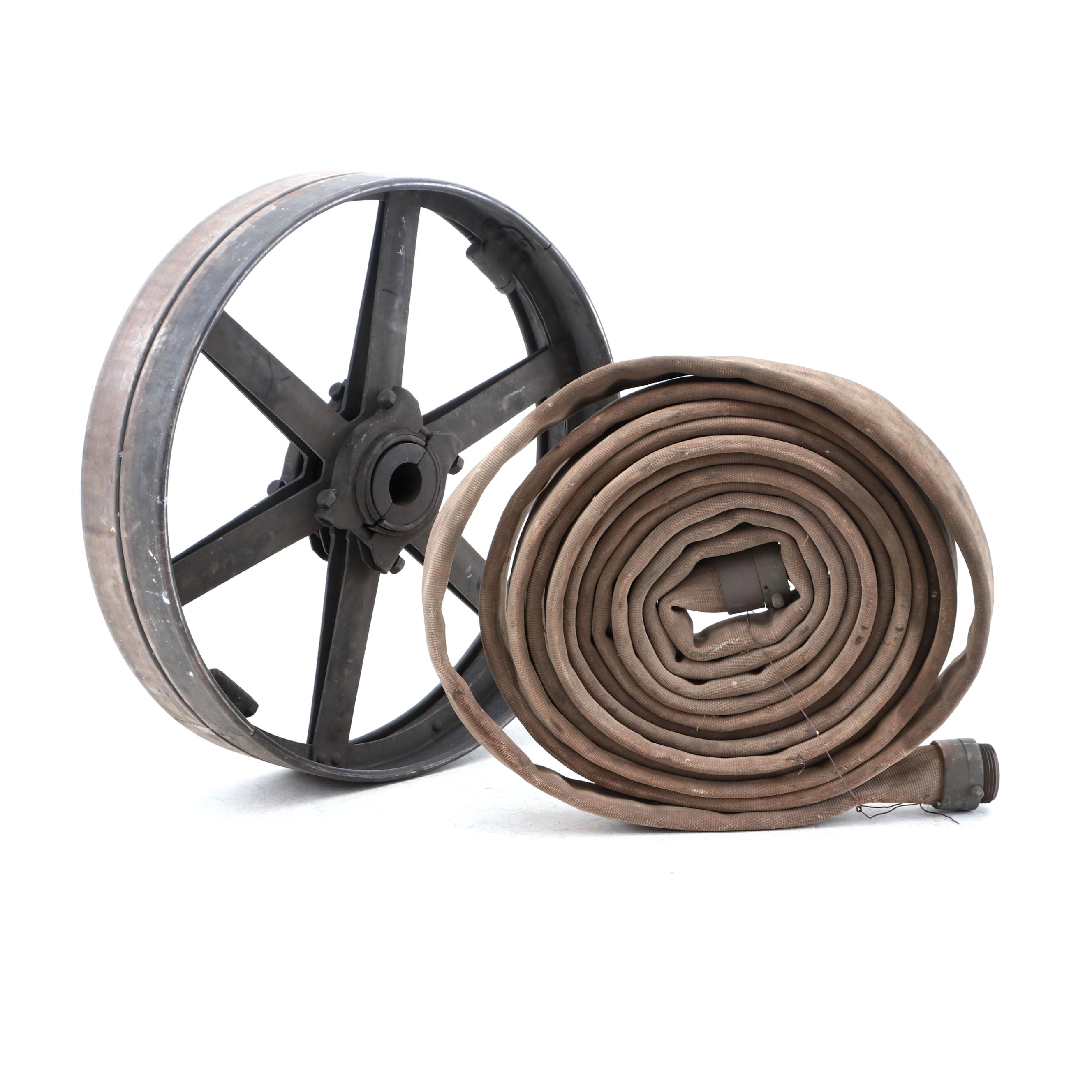 Canvas Firehose and Metal Wheel, Mid 20th Century