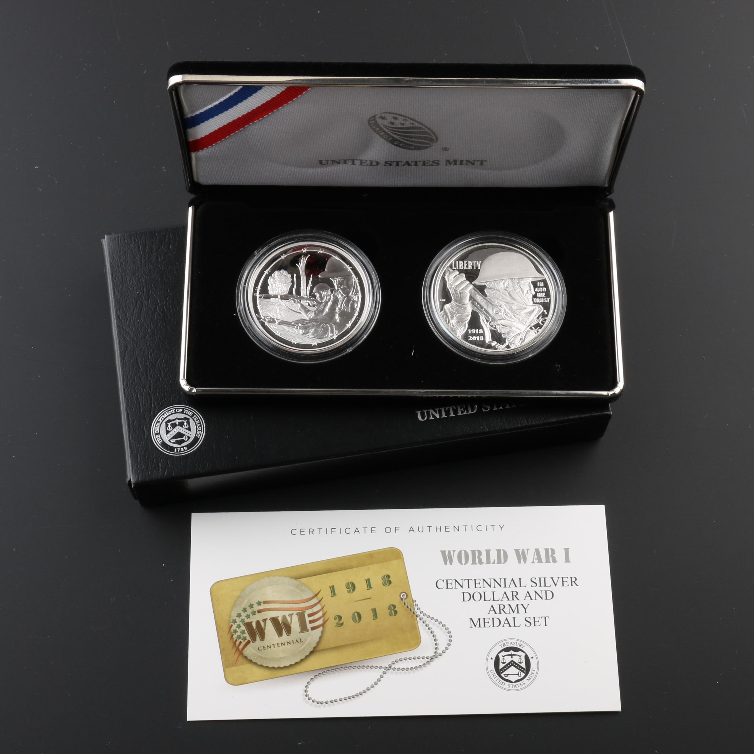 2018 World War I Centennial Silver Dollar and Army Medal Proof Set