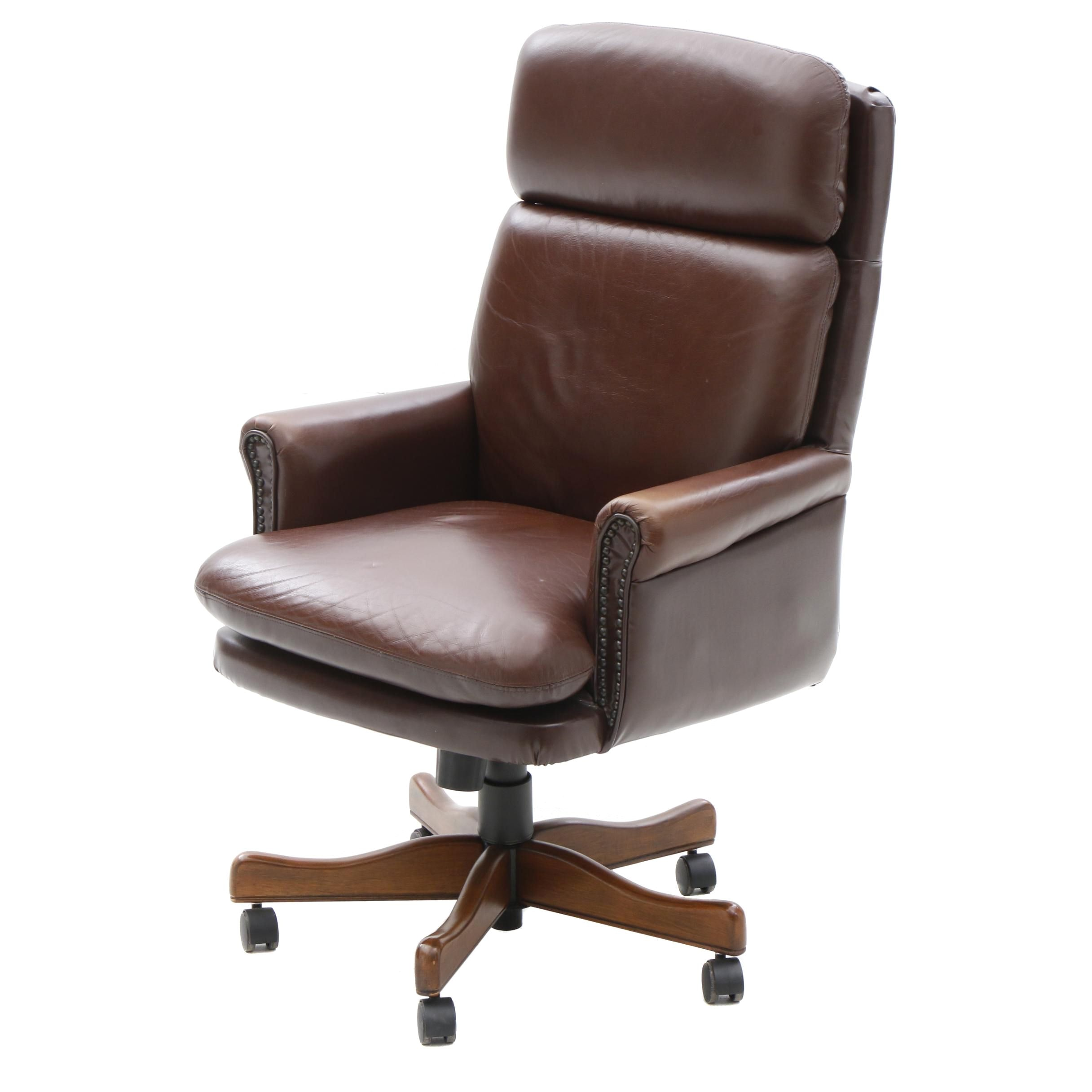 Leather Pillow Back Adjustable Height Office Arm Chair on Casters