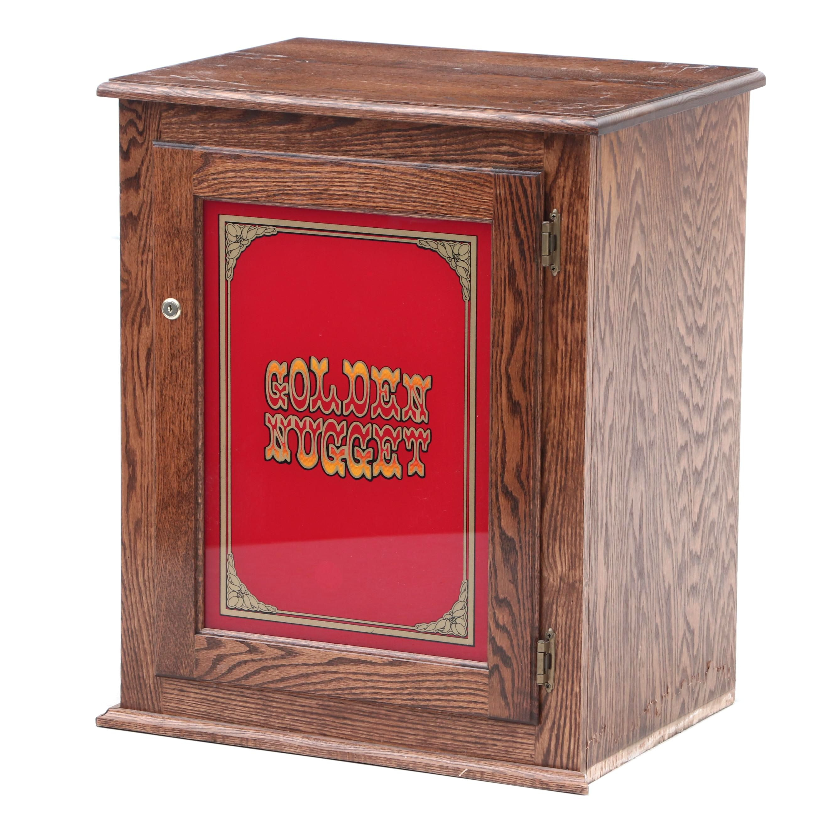 Golden Nugget Glass Insert Front Panel Cabinet in Oak
