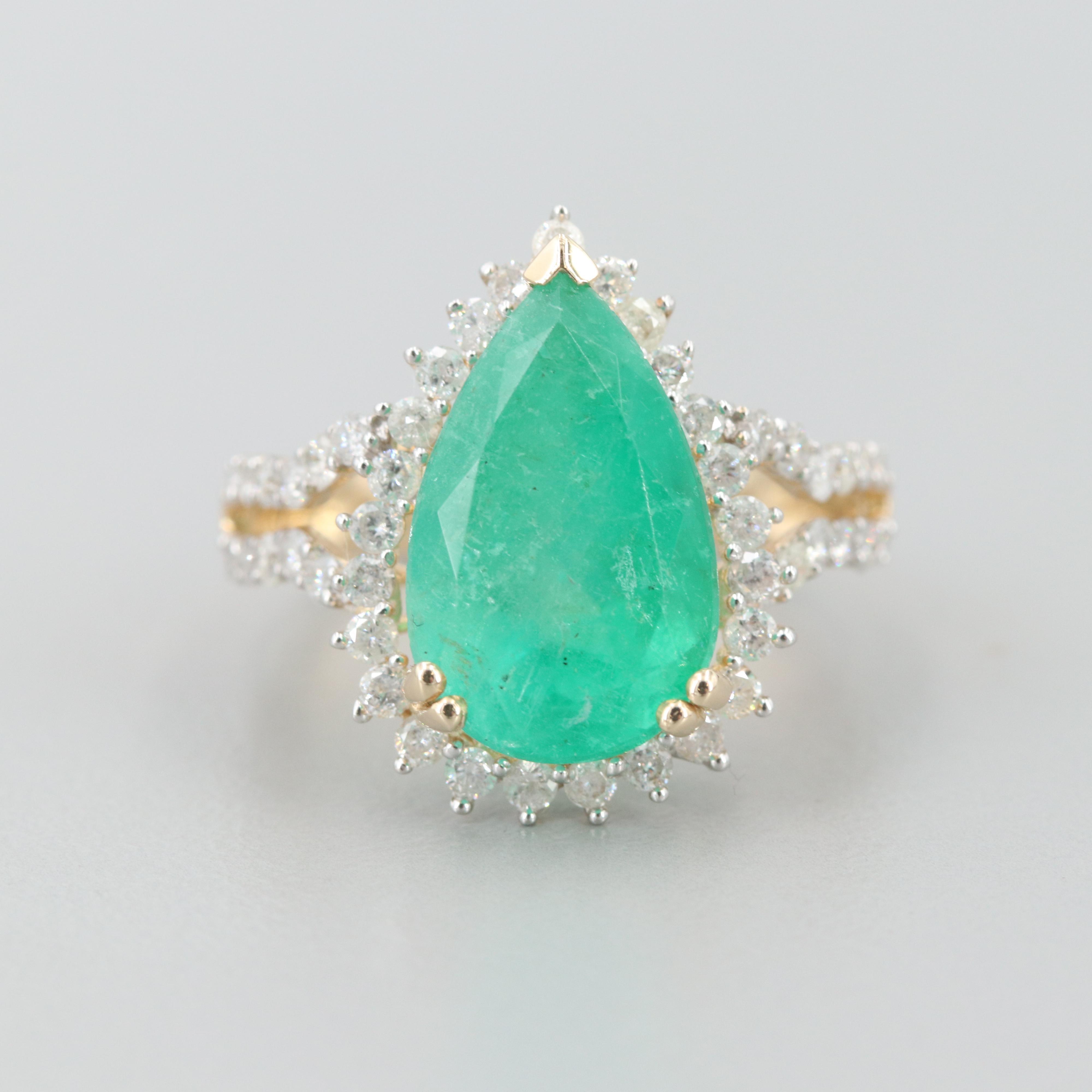 14K Yellow Gold 5.79 CT Emerald and Diamond Ring