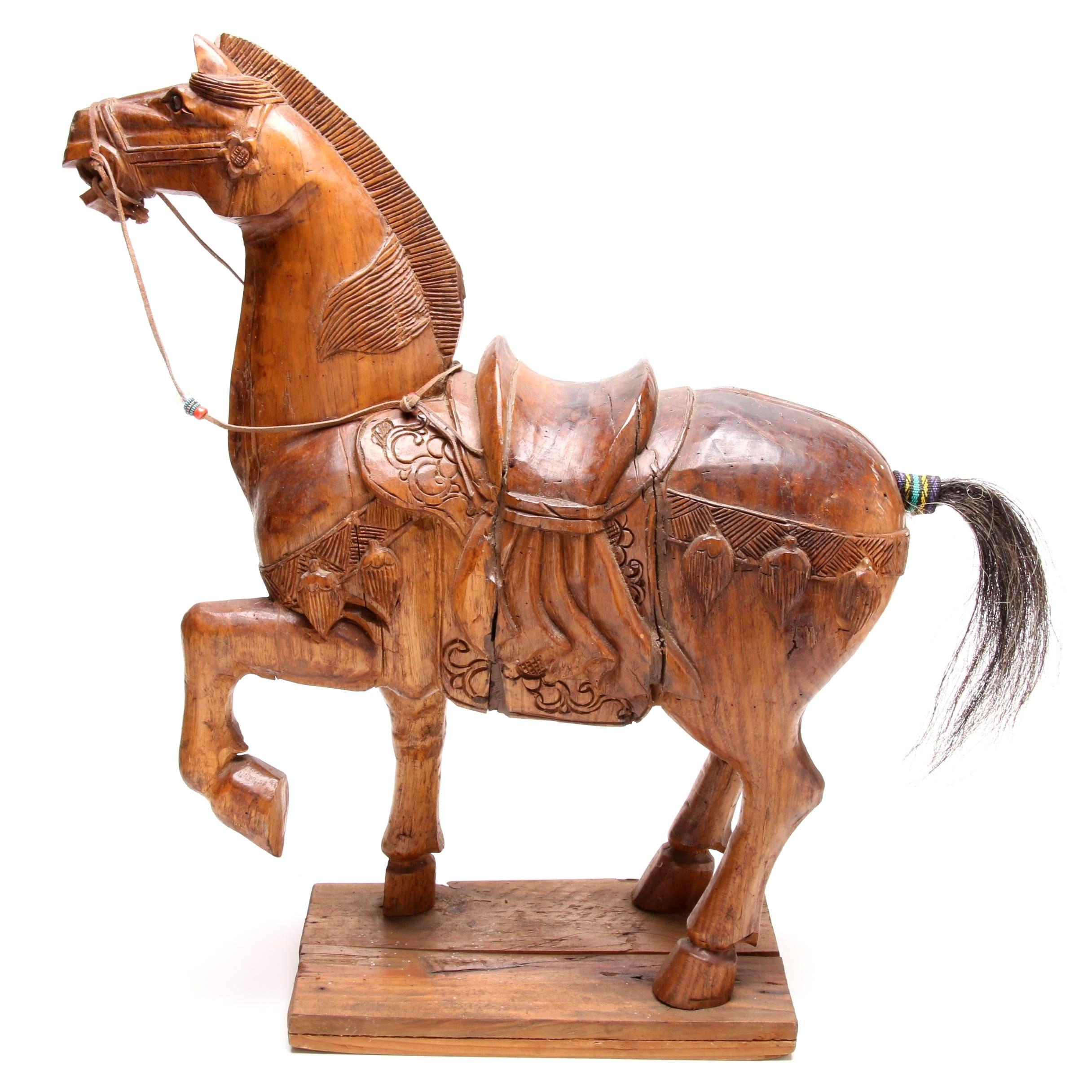 Carved Wood Horse Sculpture