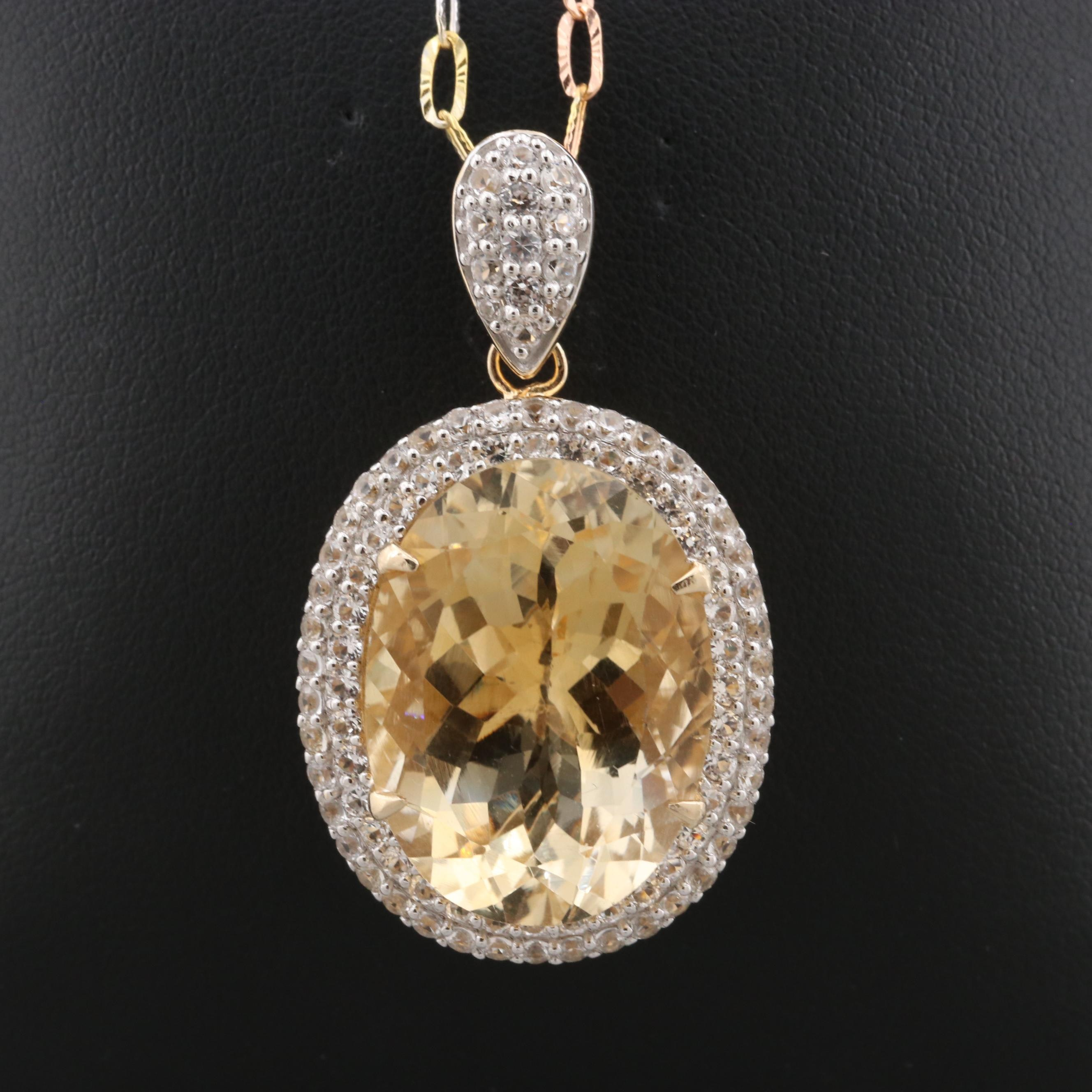 Tri-Color Gold Wash on Sterling Silver Citrine Pendant Necklace