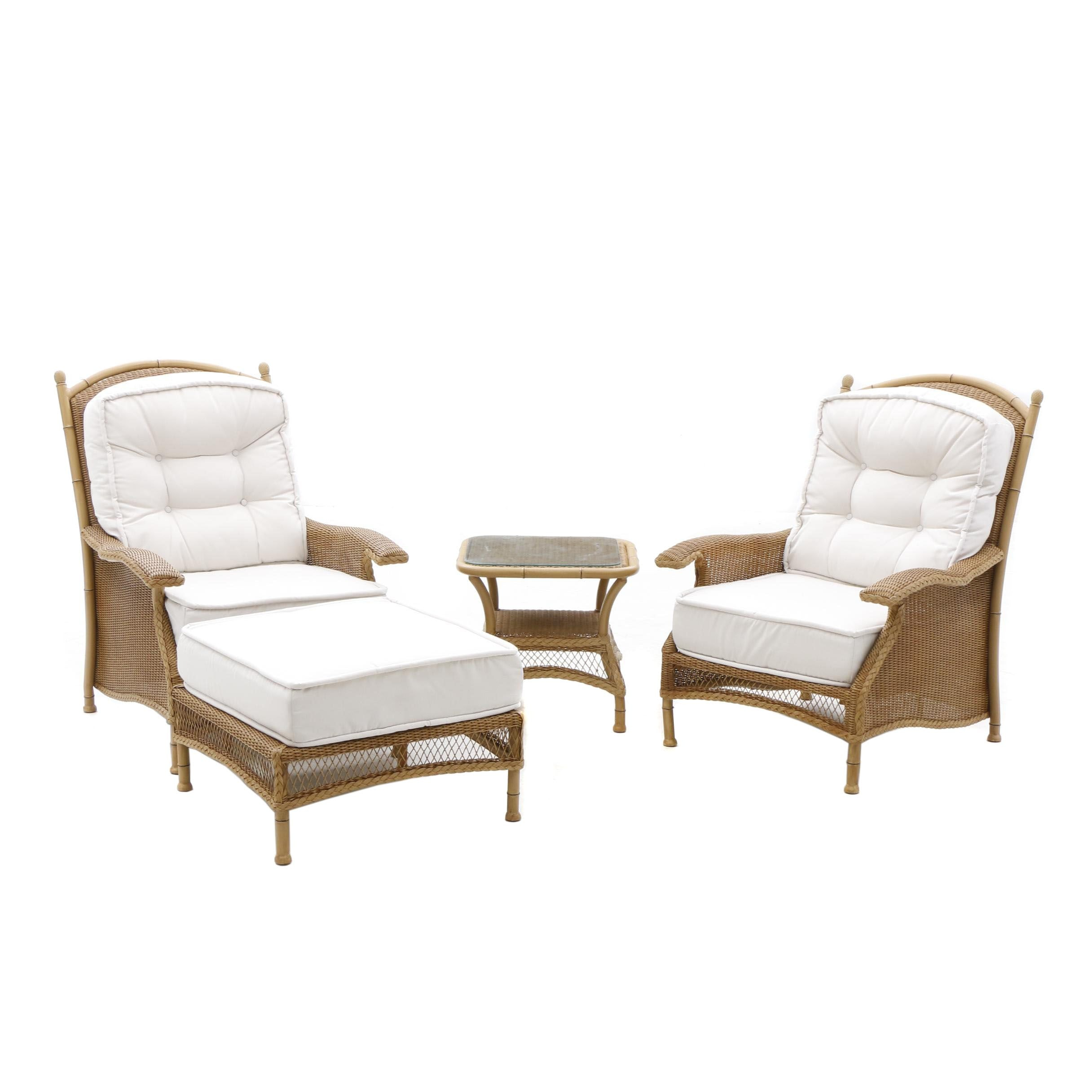 Lloyd Loom Woven Wicker Patio Arm Chairs, Table and Ottoman by Lloyd Flanders