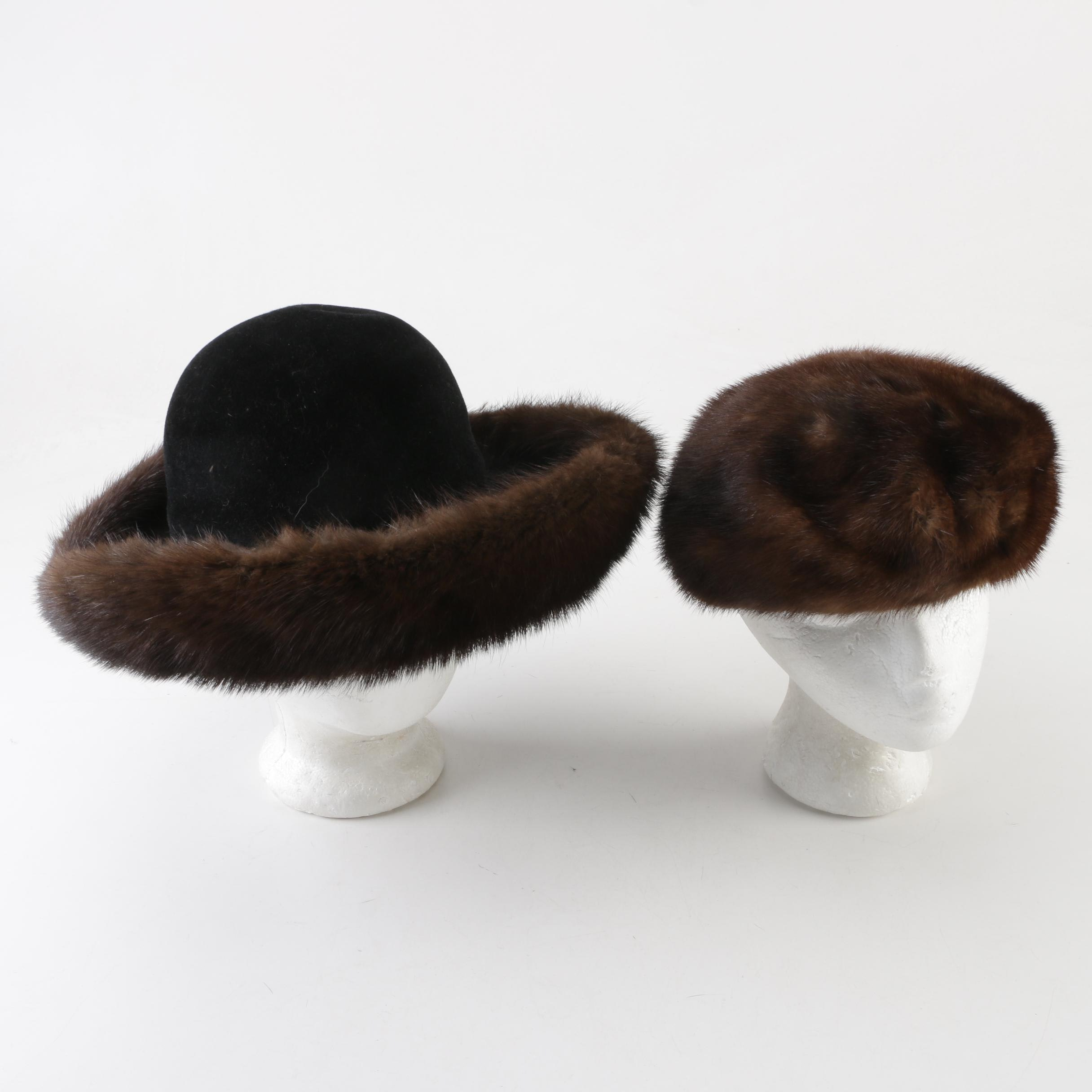 Joseph Magnin and Miss Alice for I. Magnin Mink Fur Hats