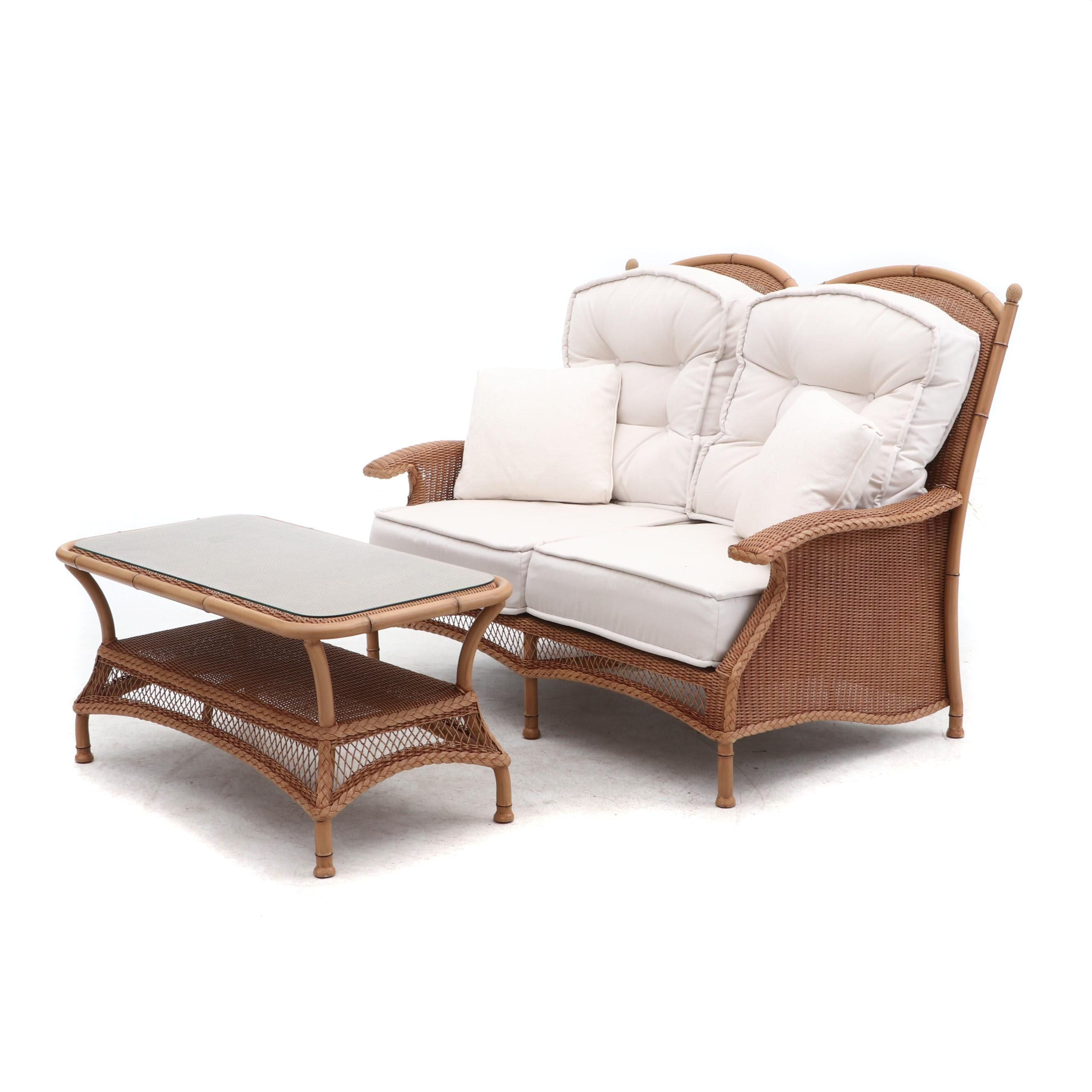 Lloyd Loom Woven Wicker Patio Love Seat and Coffee Table by Lloyd Flanders