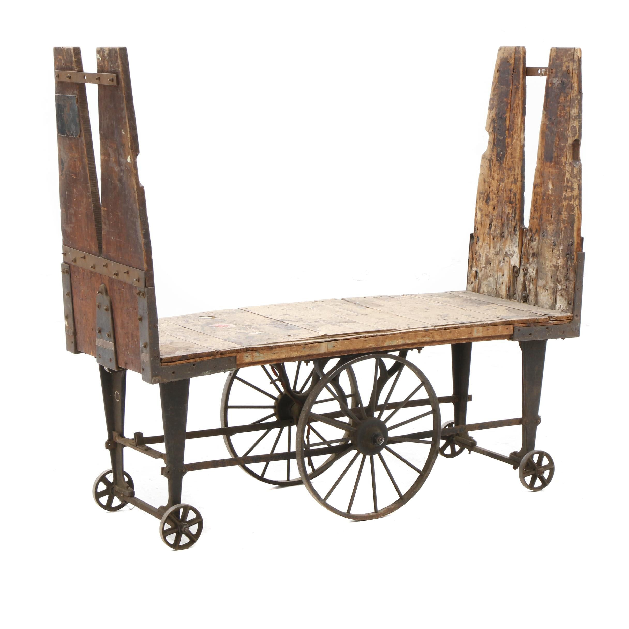 Early 1900s Pine Industrial Rolling Cart
