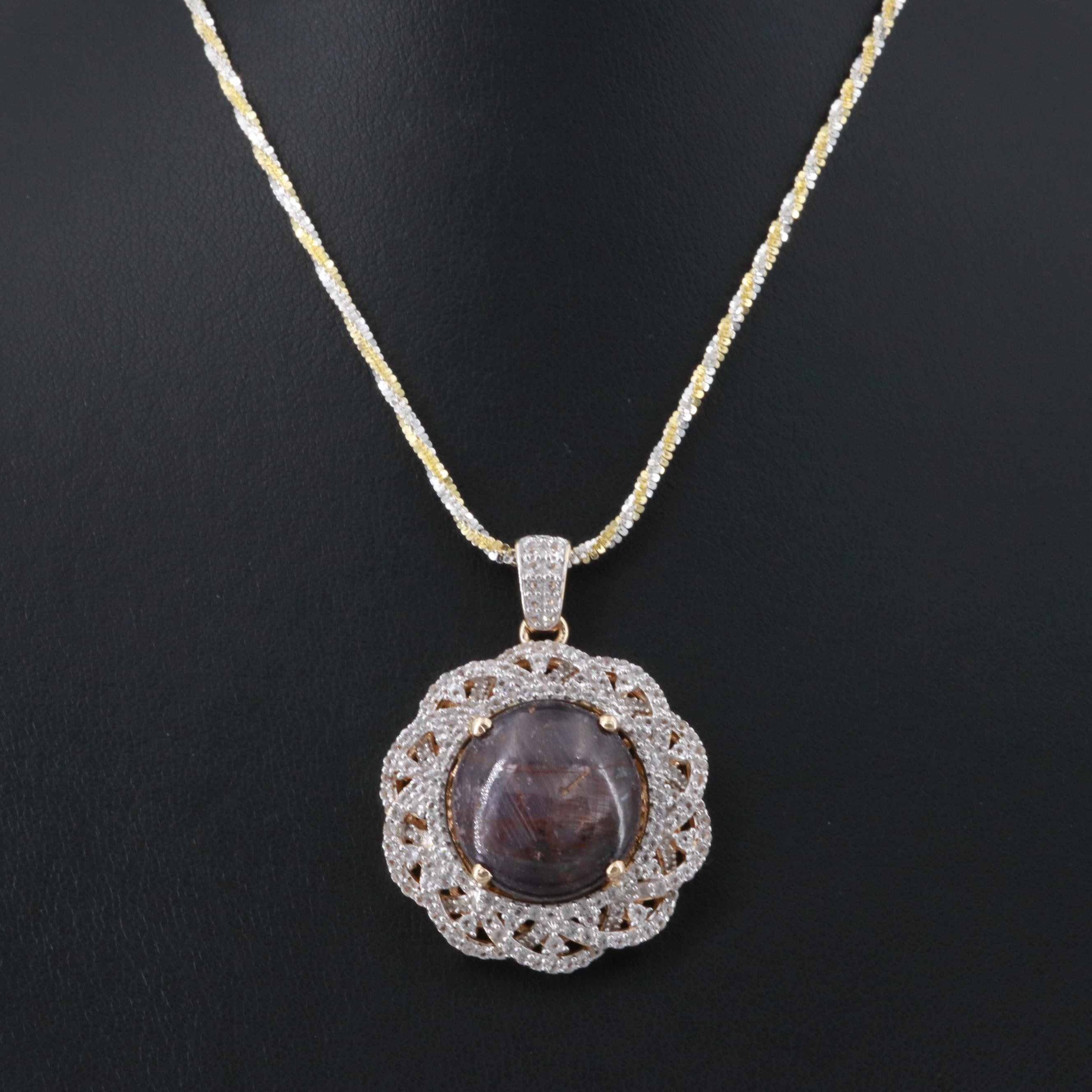 Gold Wash on Sterling Silver Star Ruby and White Topaz Pendant Necklace