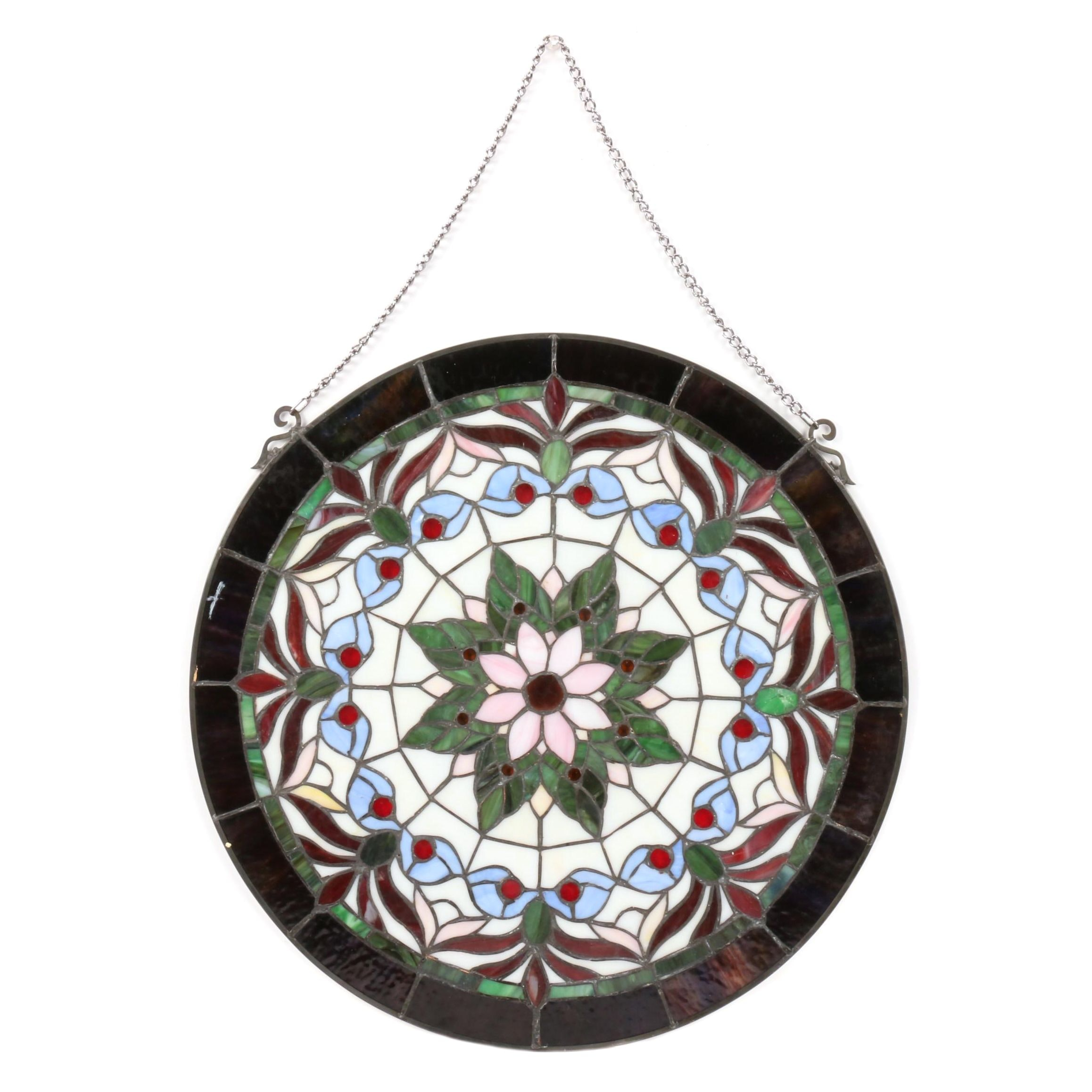 Stained Glass Round Hanging Panel