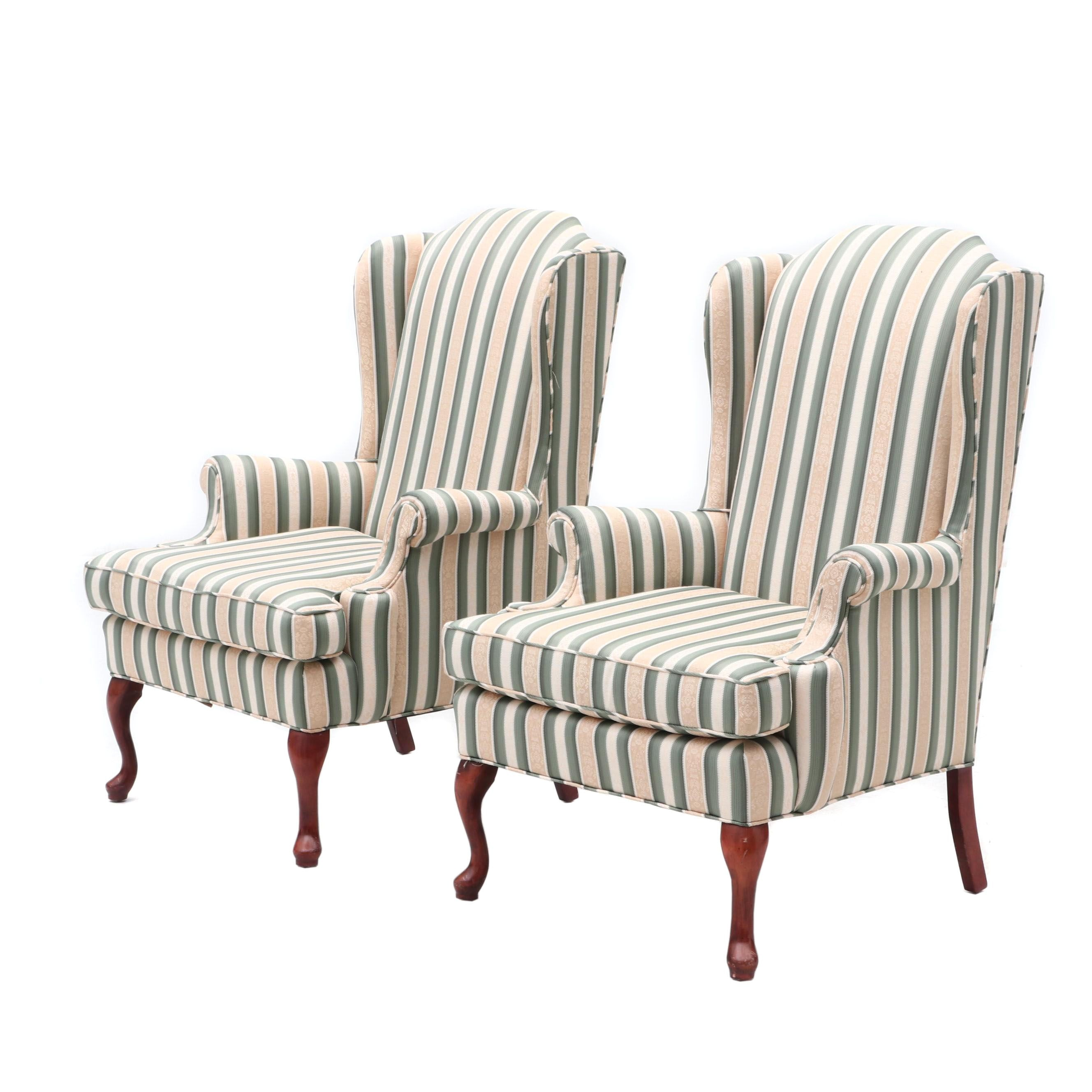 Upholstered Wing Back Arm Chairs