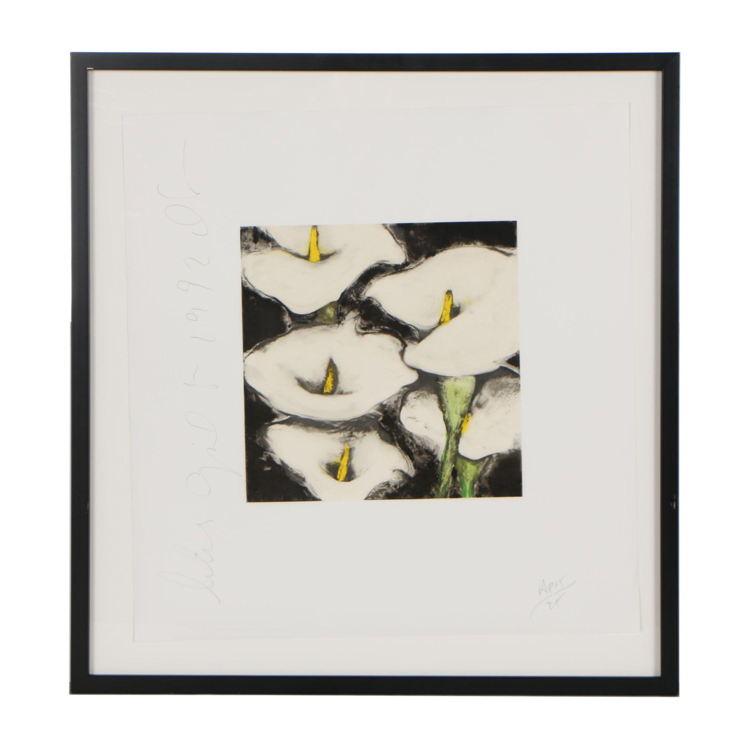 "Donald Keith Sultan 1992 Serigraph ""Calla Lilies"""