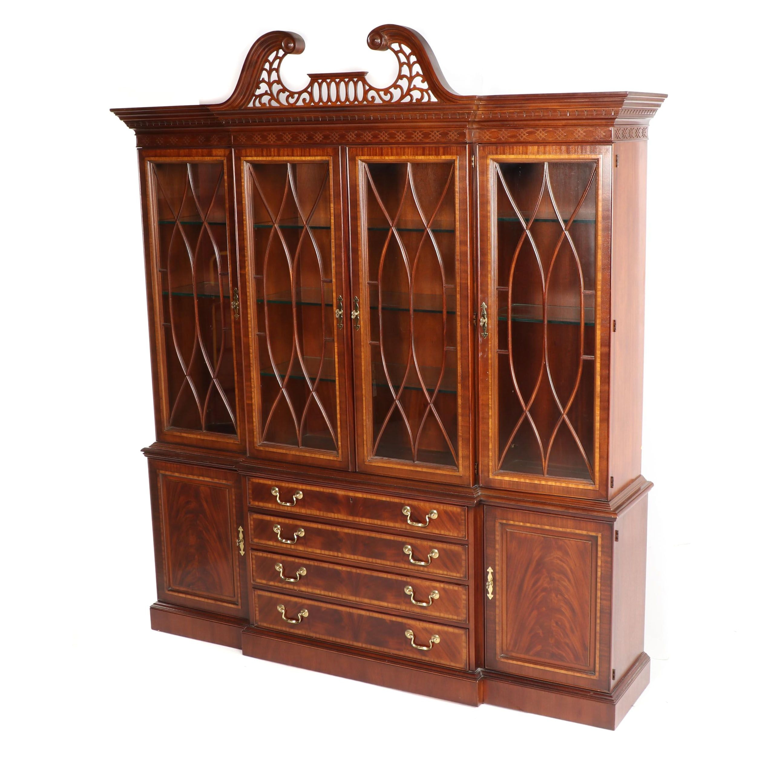 """18th Century Classic"" Mahogany Illuminated China Cabinet by Drexel, Late 20th C"