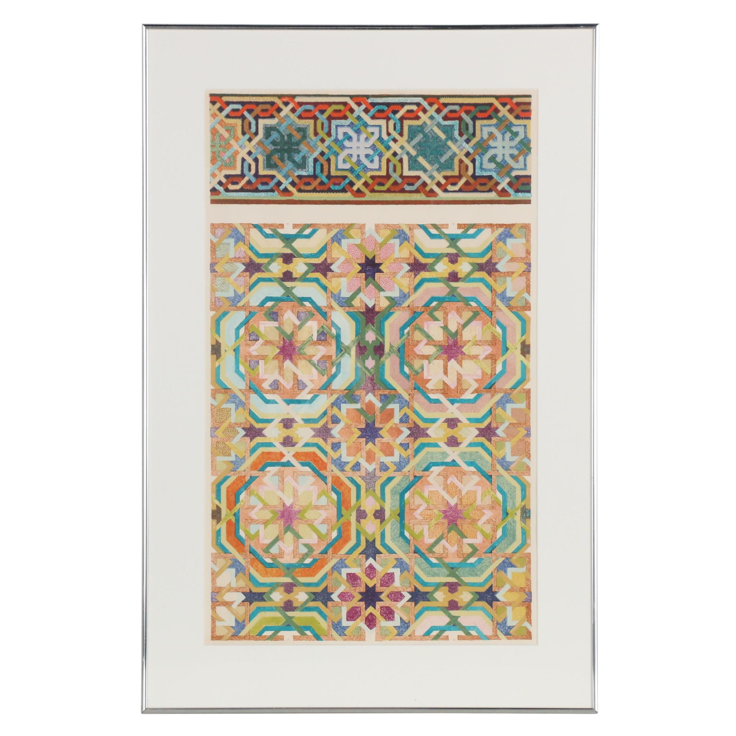 """Joyce Kozloff 1977 Lithograph """"Pictures and Borders III"""""""