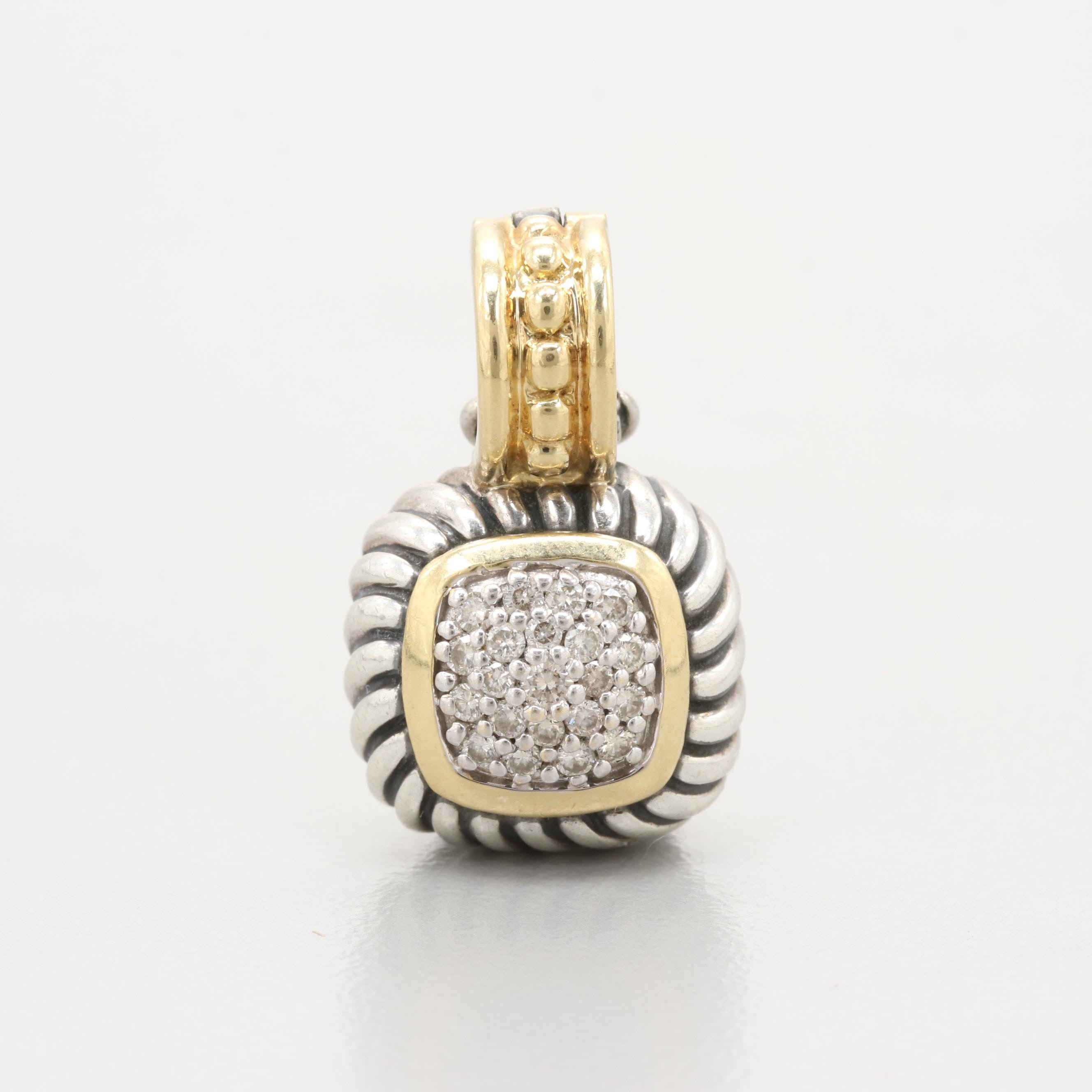 "David Yurman ""Albion"" Sterling Silver Diamond Pendant With 18K Accents"