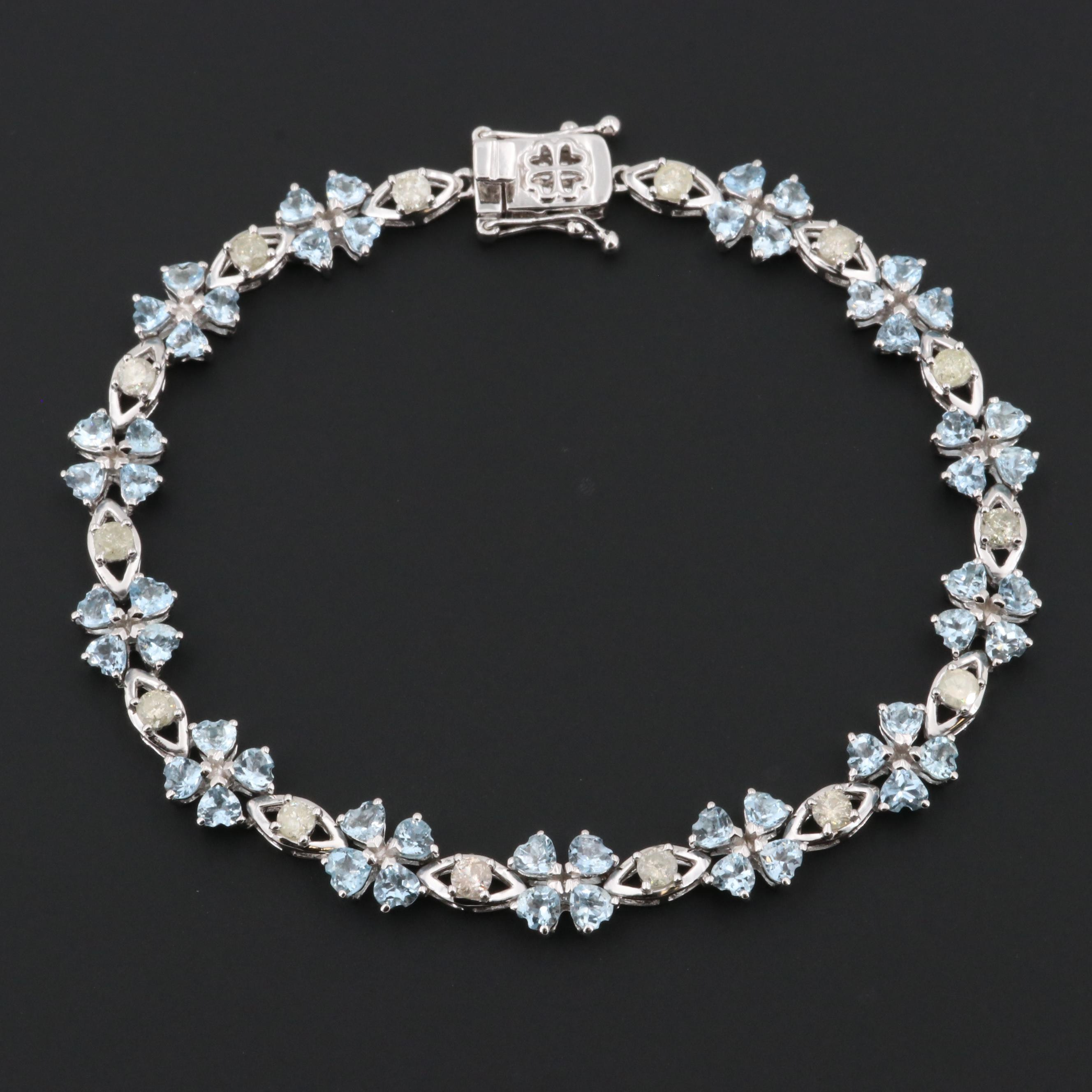 Sterling Silver Aquamarine and 1.12 CTW Diamond Bracelet
