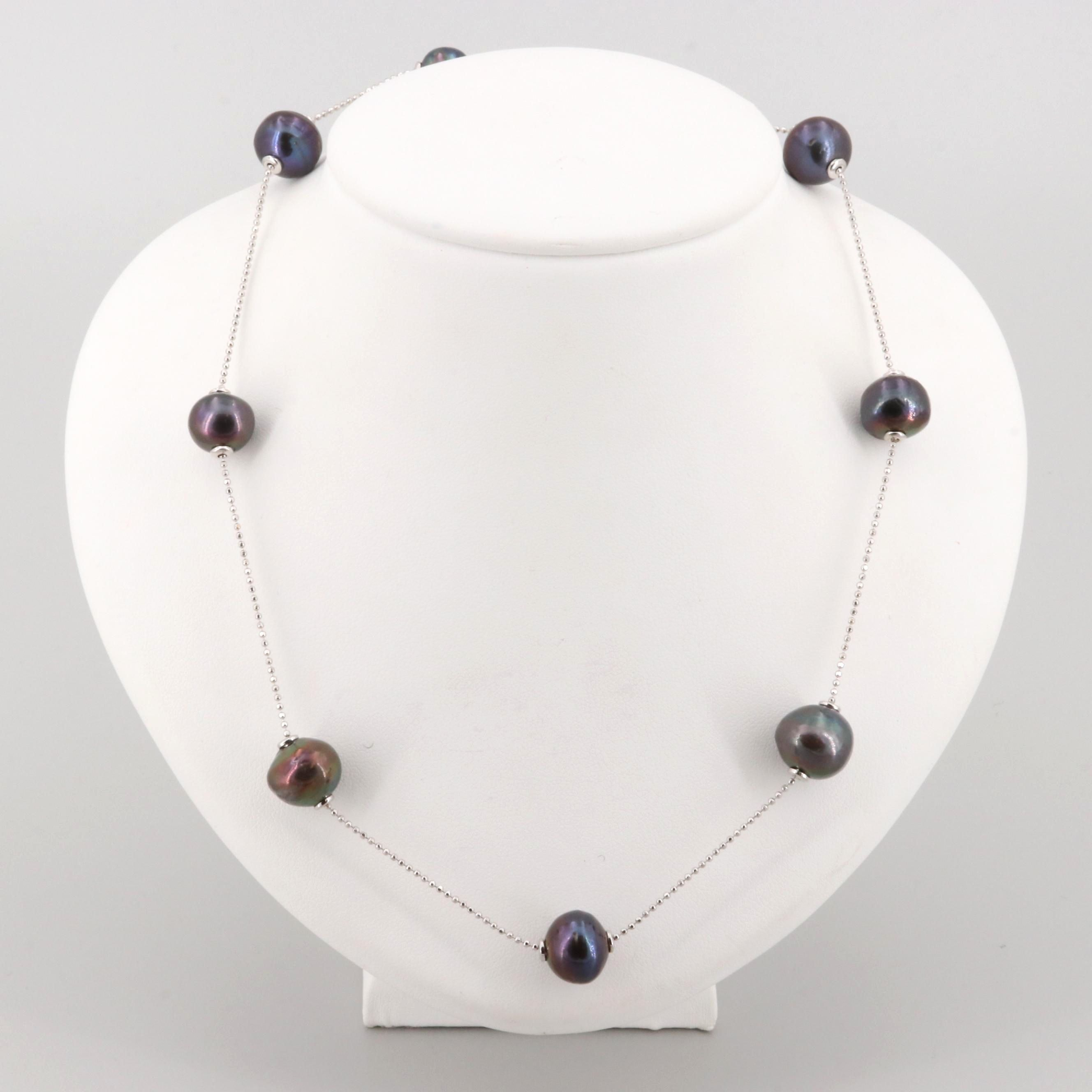 Sterling Silver Cultured Pearl Station Necklace