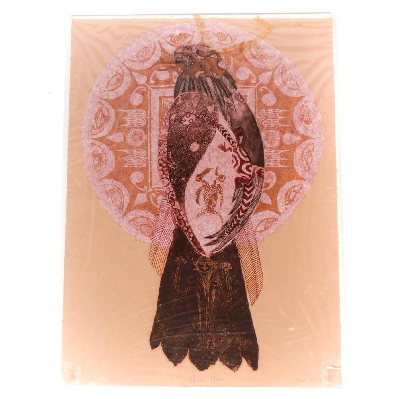 """Jona White Woodcut """"Chinese Mirror"""""""