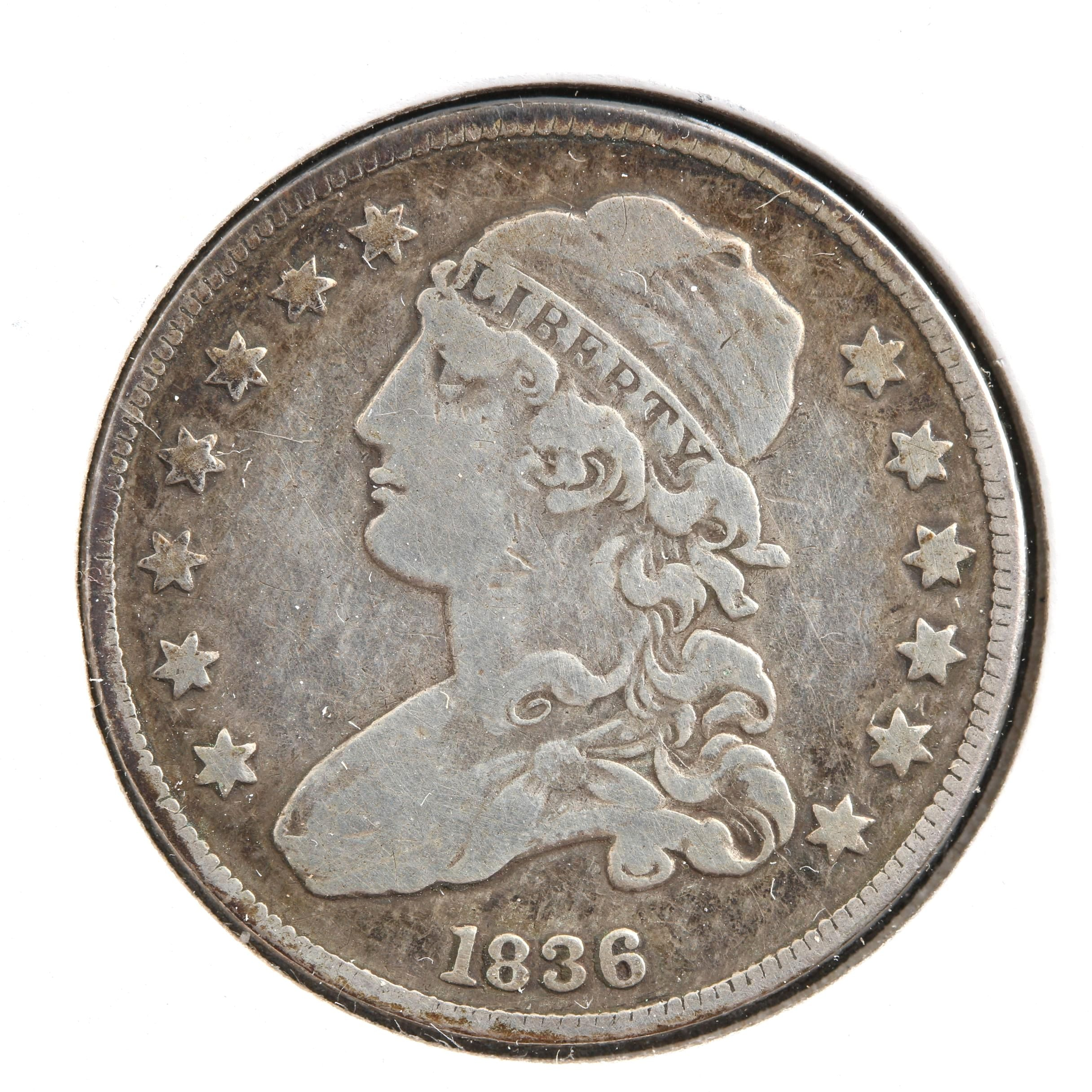 1836 Capped Bust Silver Quarter