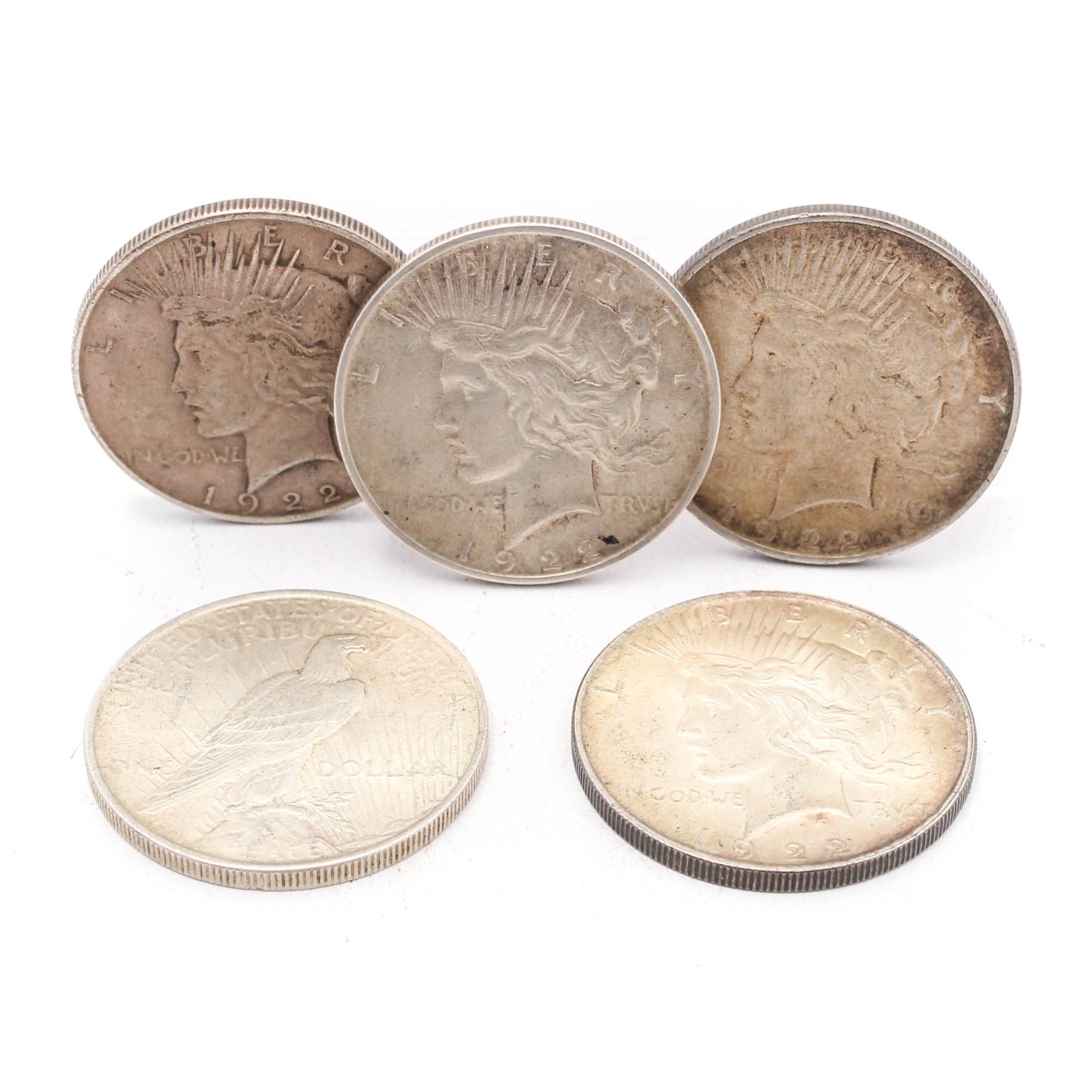Five Peace Silver Dollar Coins