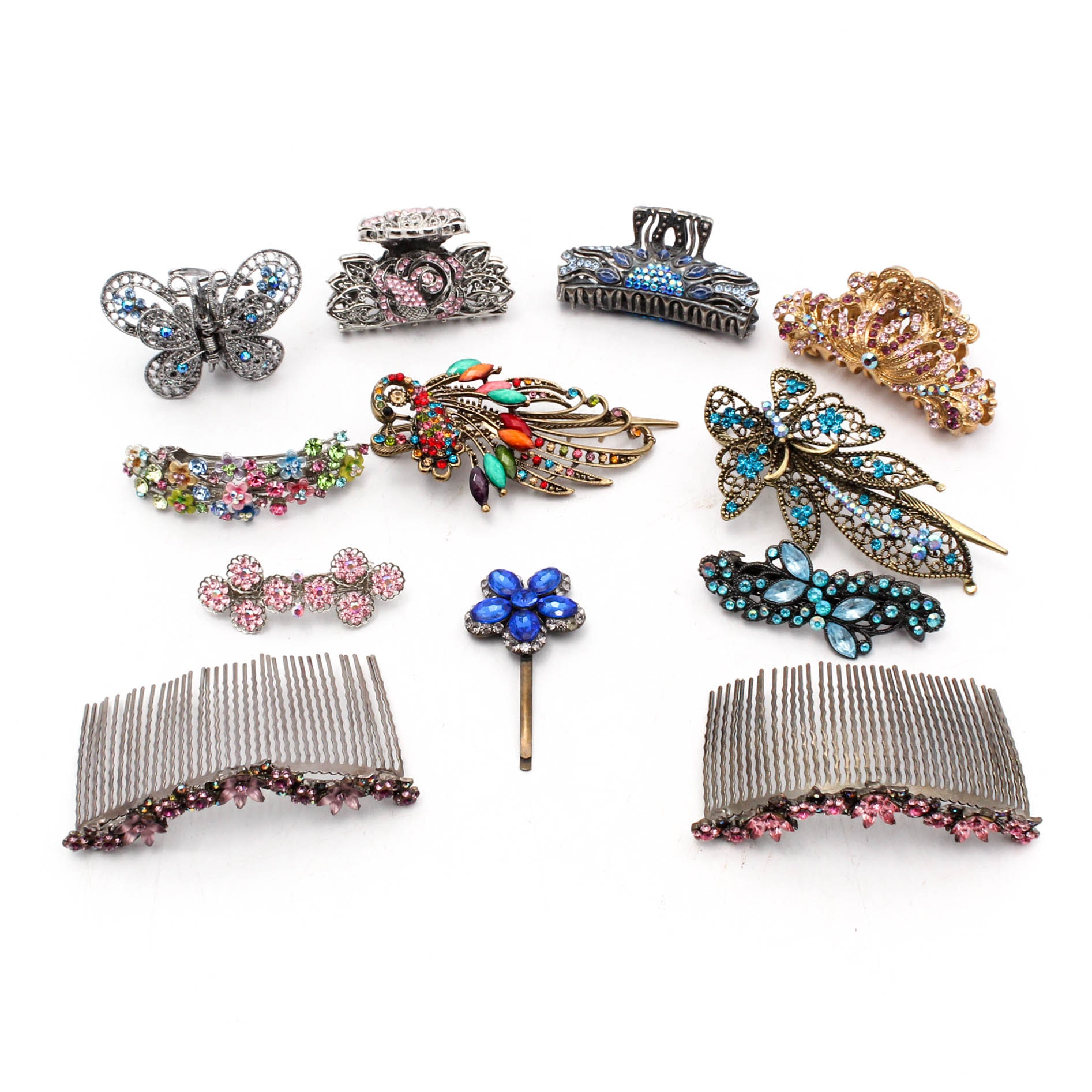Rhinestone Adorned Hair Clips and Barrettes