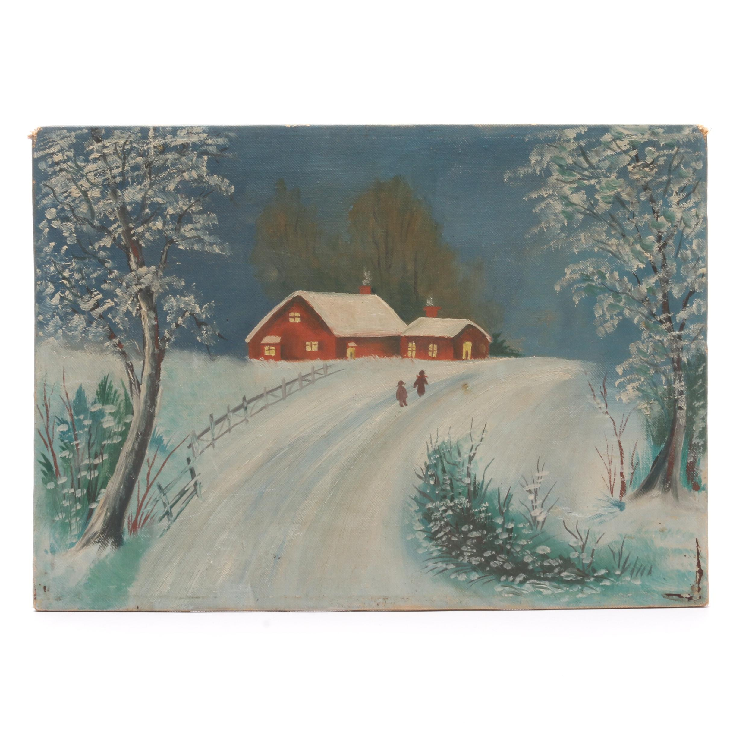 Vintage Naive Oil Painting of Winter Pastoral Landscape