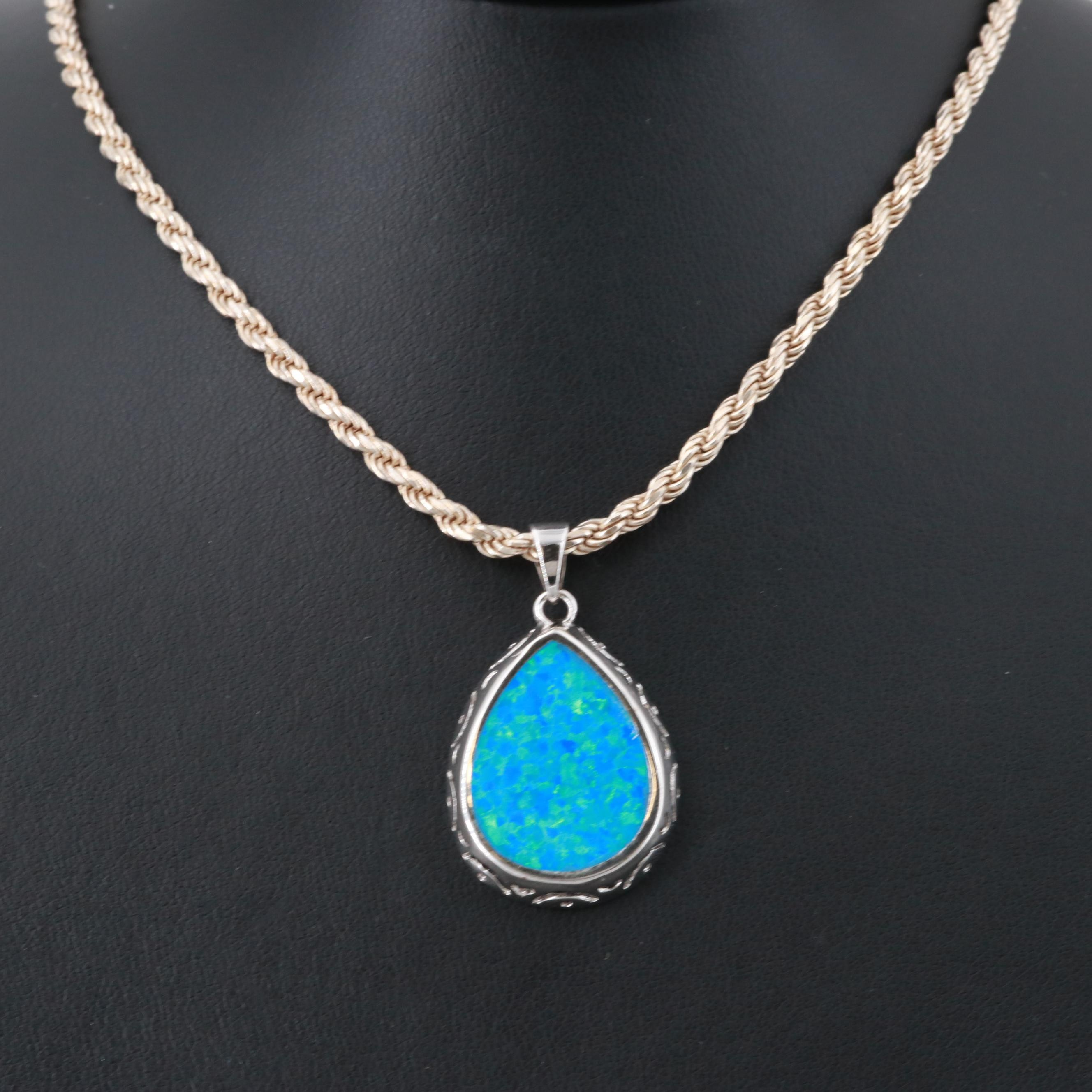 Sterling Silver Synthetic Opal French Rope Chain Necklace