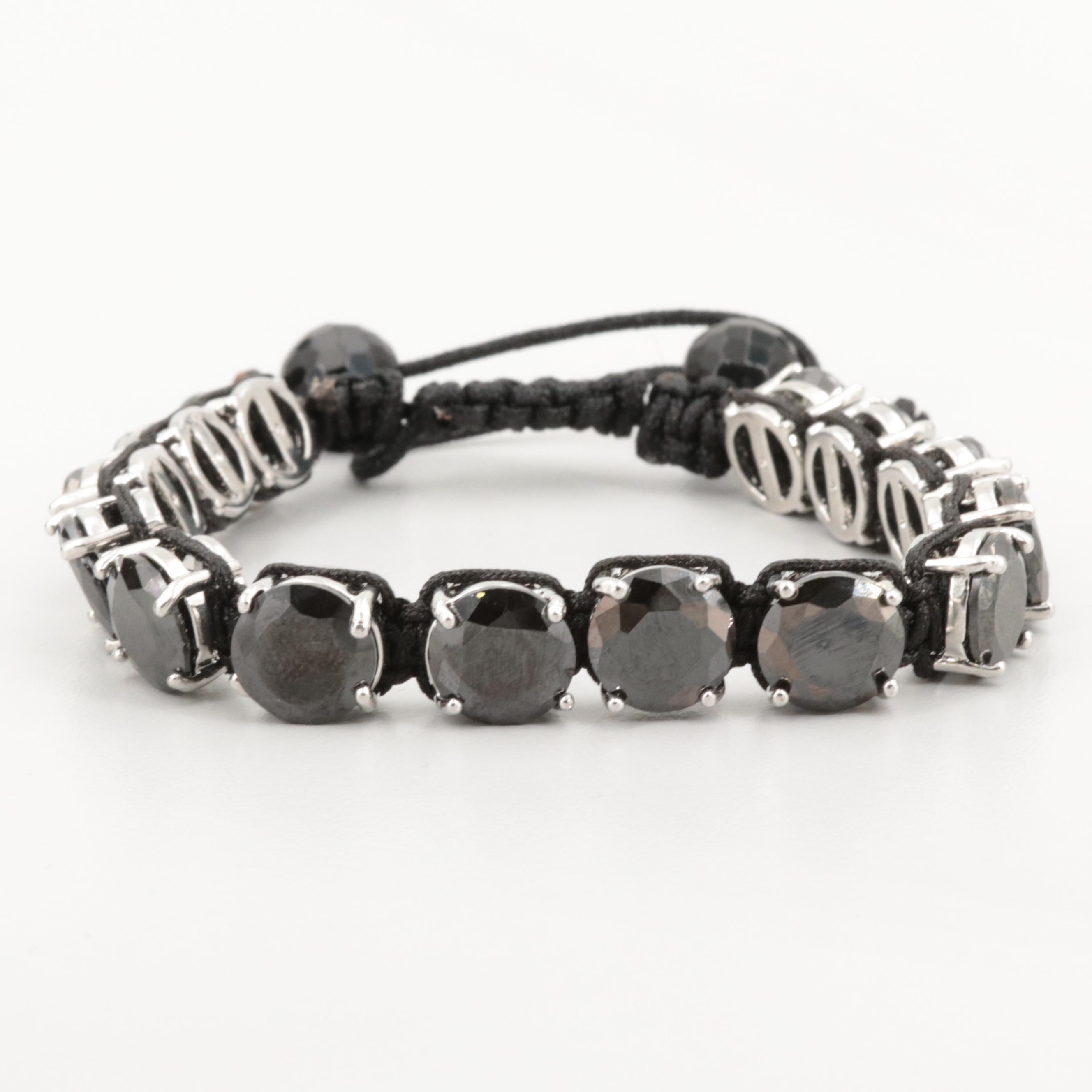 Silver Tone Obsidian Bracelet