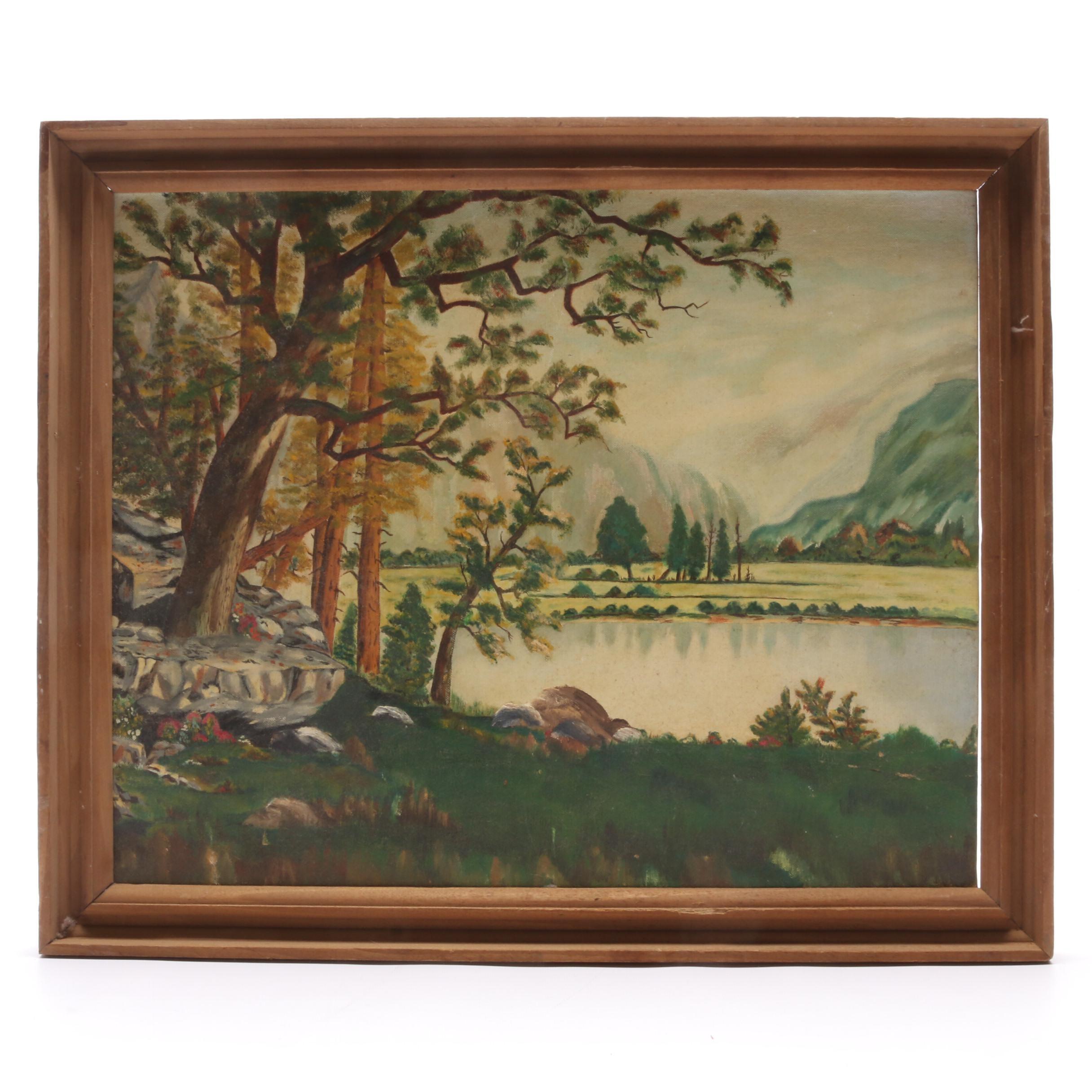 Vintage Naive Style Landscape Oil Painting