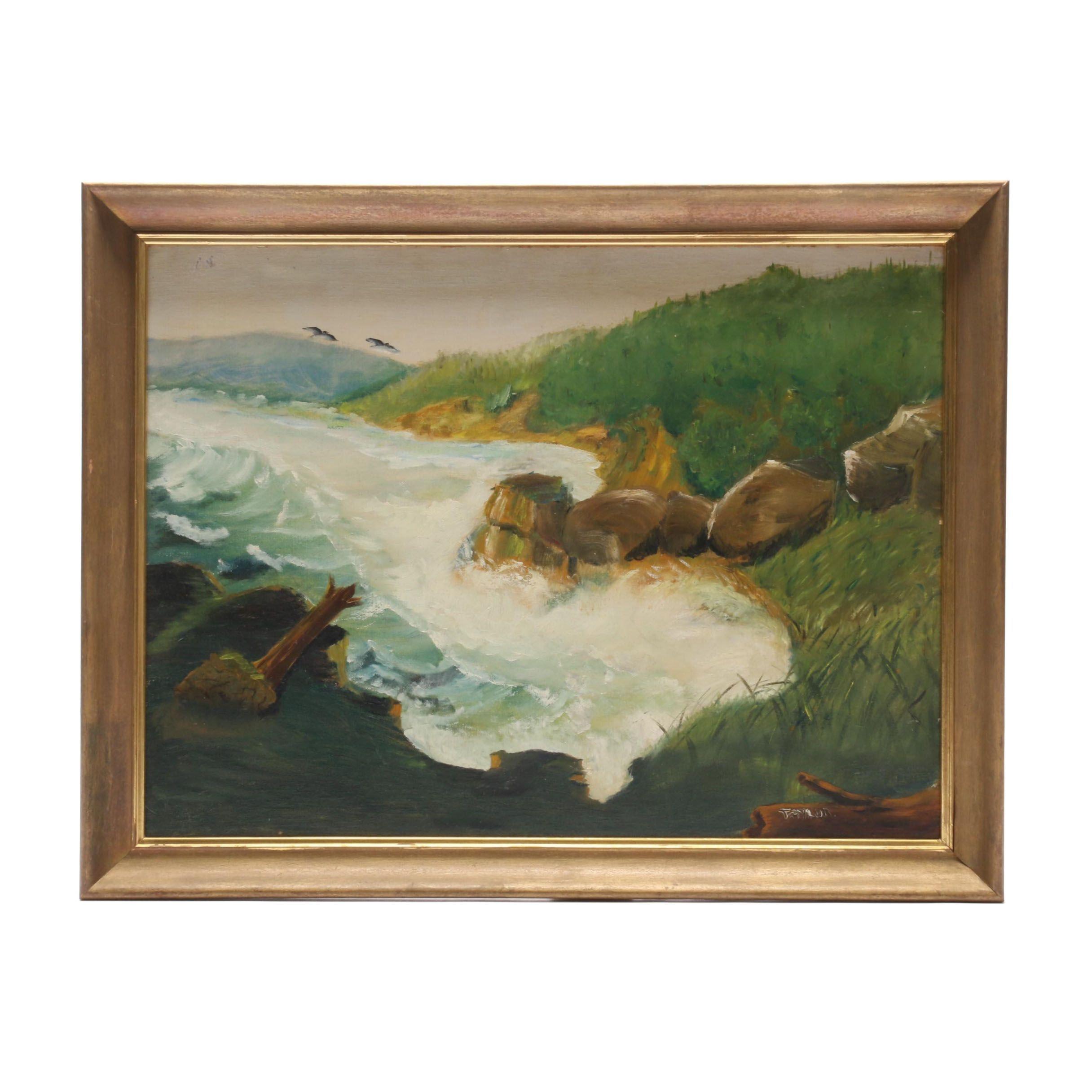 Taylor Oil Landscape Painting of Coastal Scene