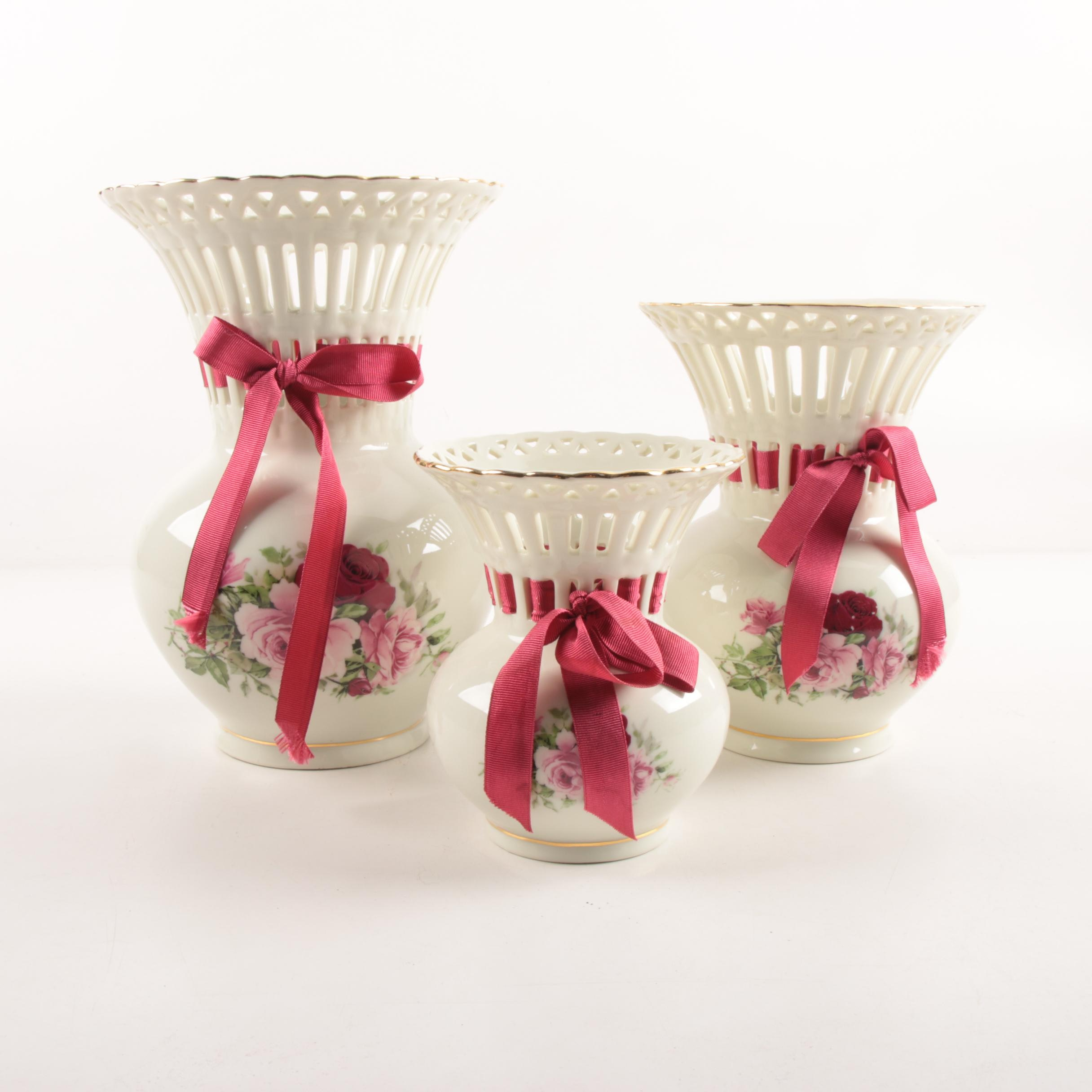 """""""Formalities"""" Hand-Painted Porcelain Vases by Baum Brothers, Late 20th Century"""