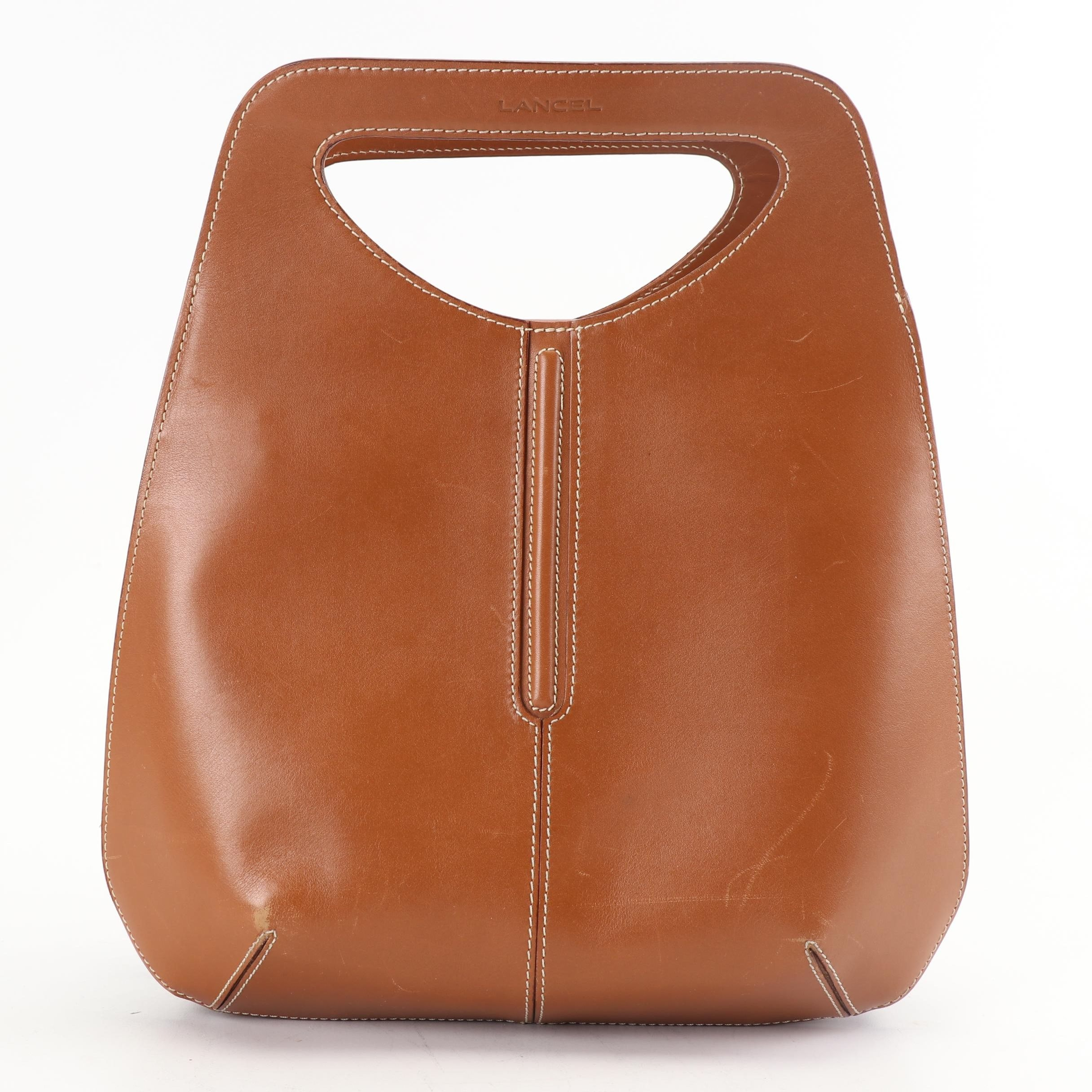 Lancel Brown Leather Bowler Style Bag