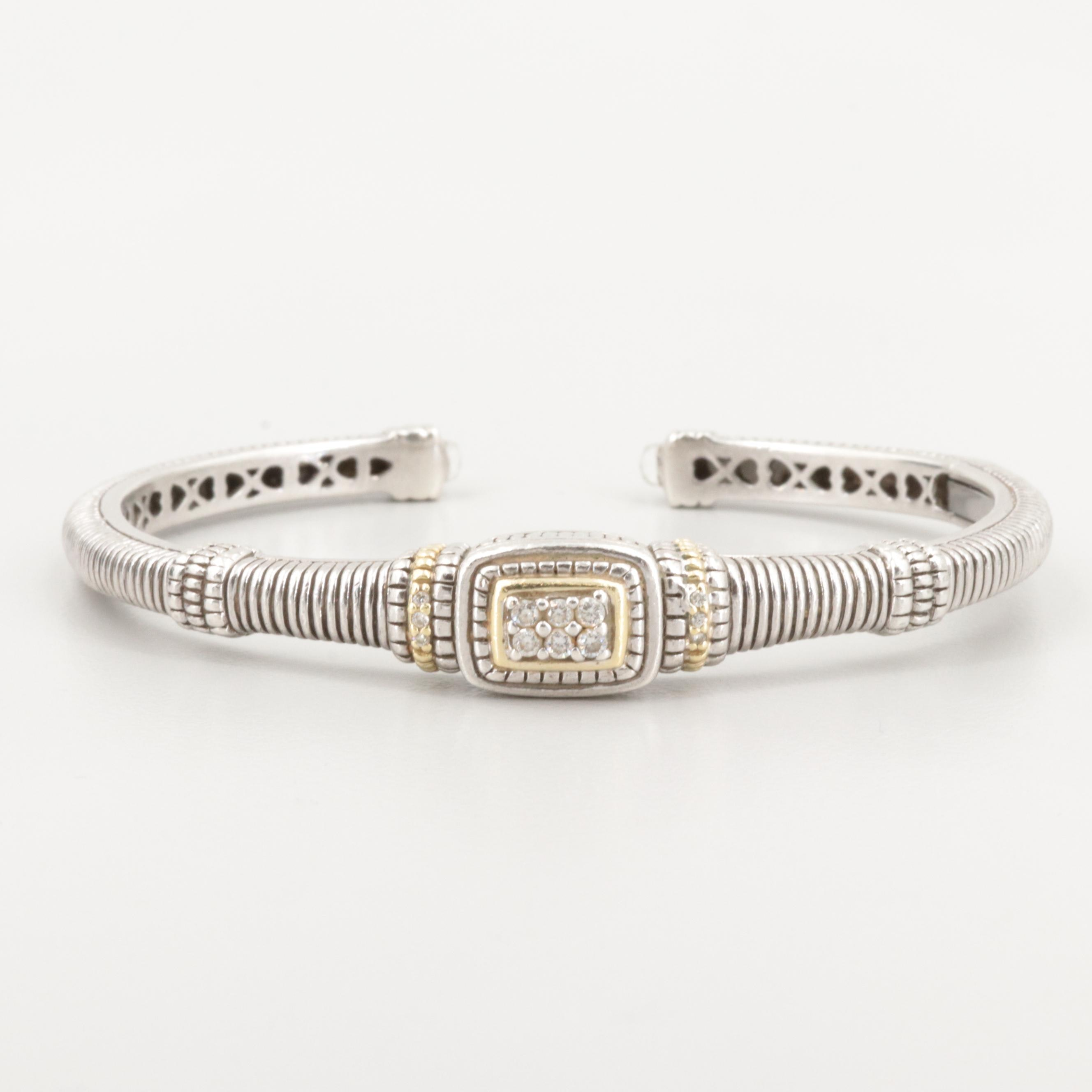 Judith Ripka Sterling Diamond and Quartz Bracelet with 18K Yellow Gold Accents