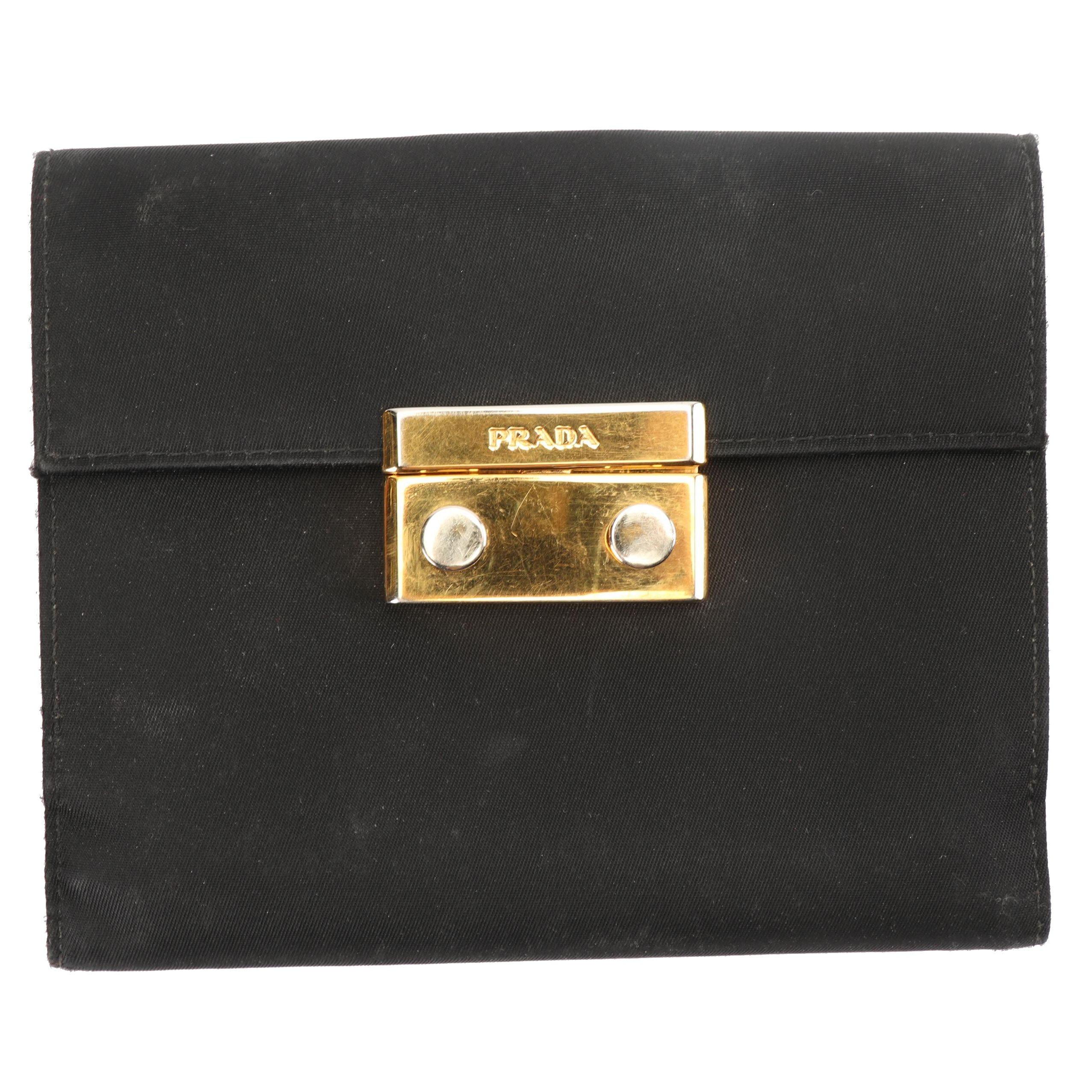 Prada Black Nylon and Saffiano Leather Bifold Wallet