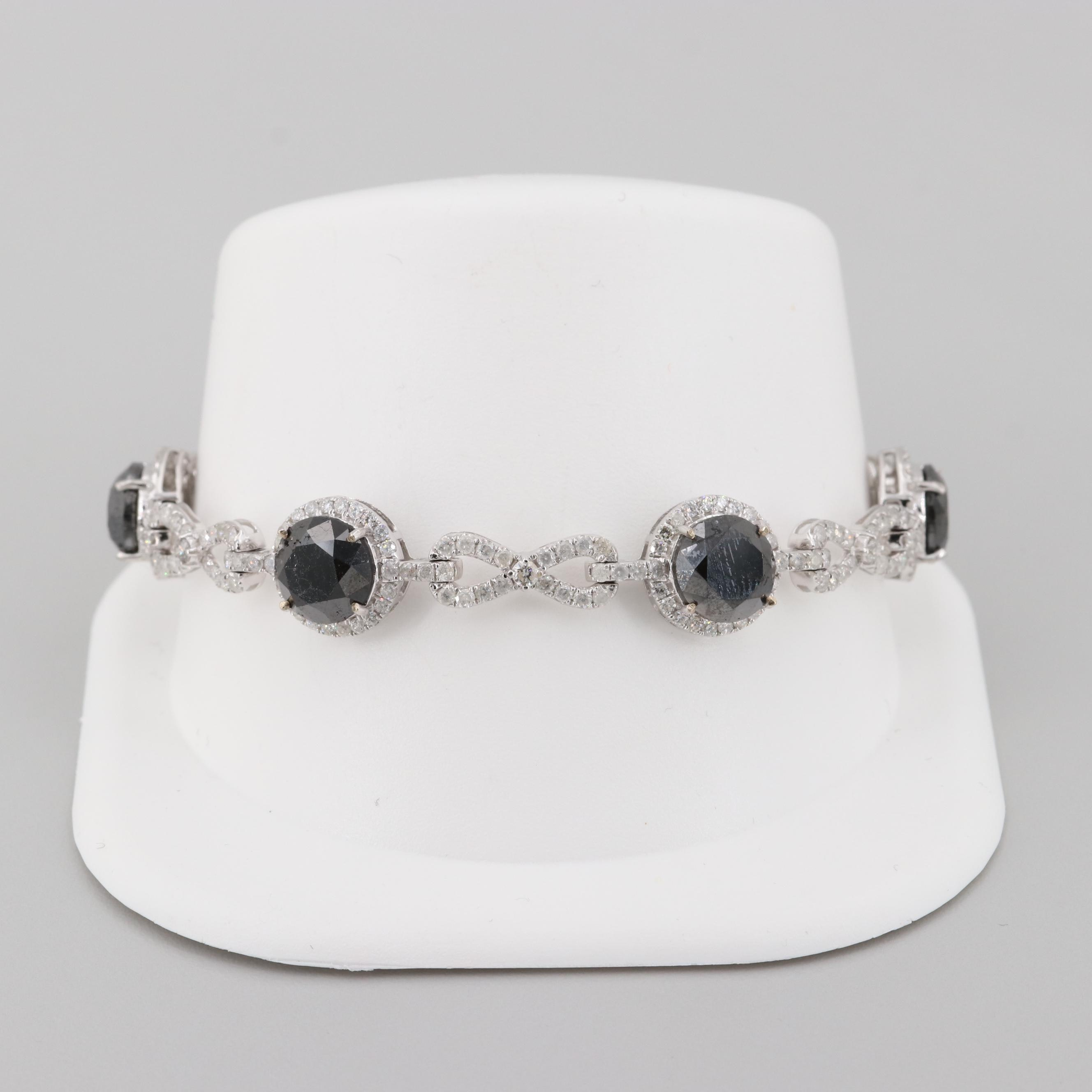 14K White Gold 18.92 CTW Diamond Bracelet Featuring Black Diamonds