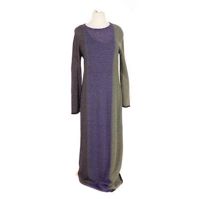 4d5e734e6bcf Missoni Orange Label Striped Wool Knit Long Sleeve Maxi Dress