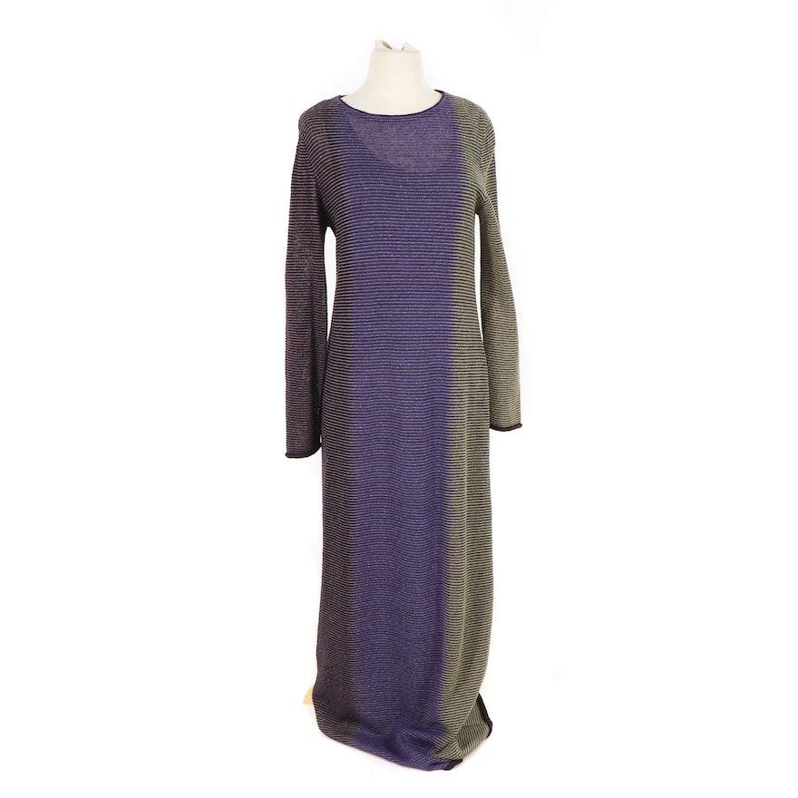 aa8a985495 Missoni Orange Label Striped Wool Knit Long Sleeve Maxi Dress