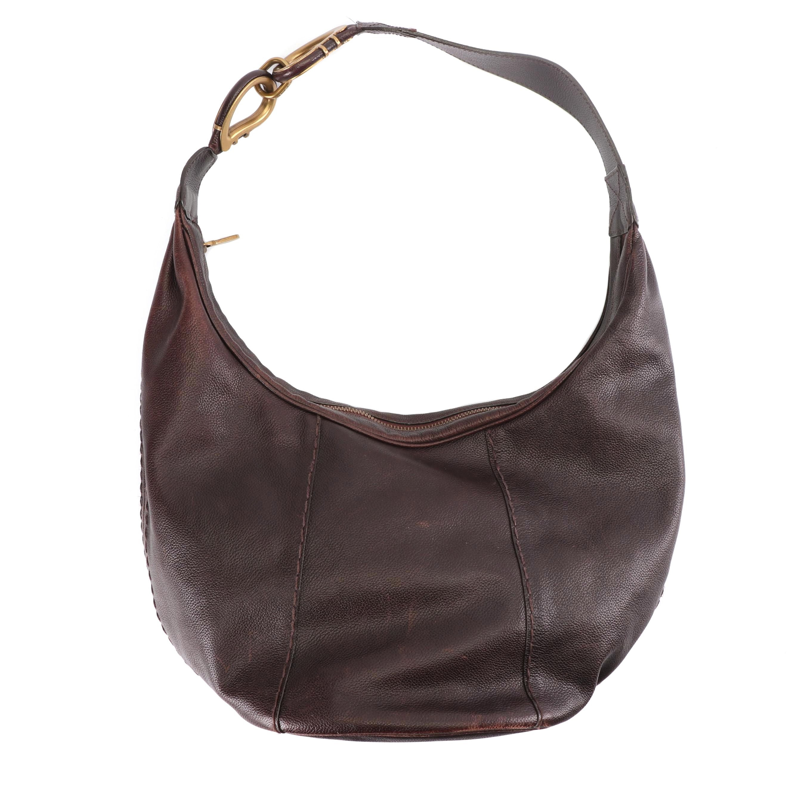 Etro Milano Brown Leather Hobo Bag, Made in Italy