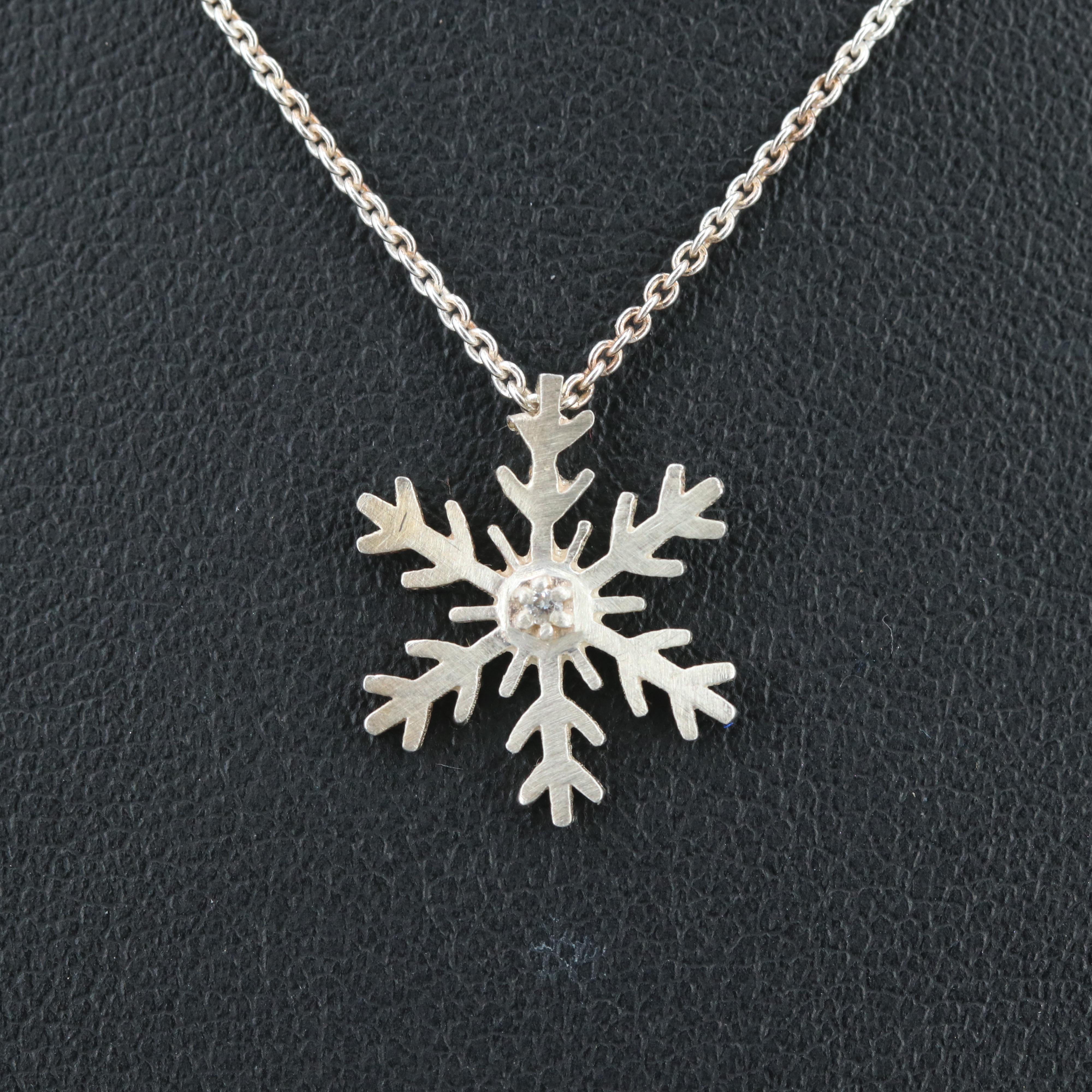 Sterling Silver Diamond Snowflake Pendant Necklace